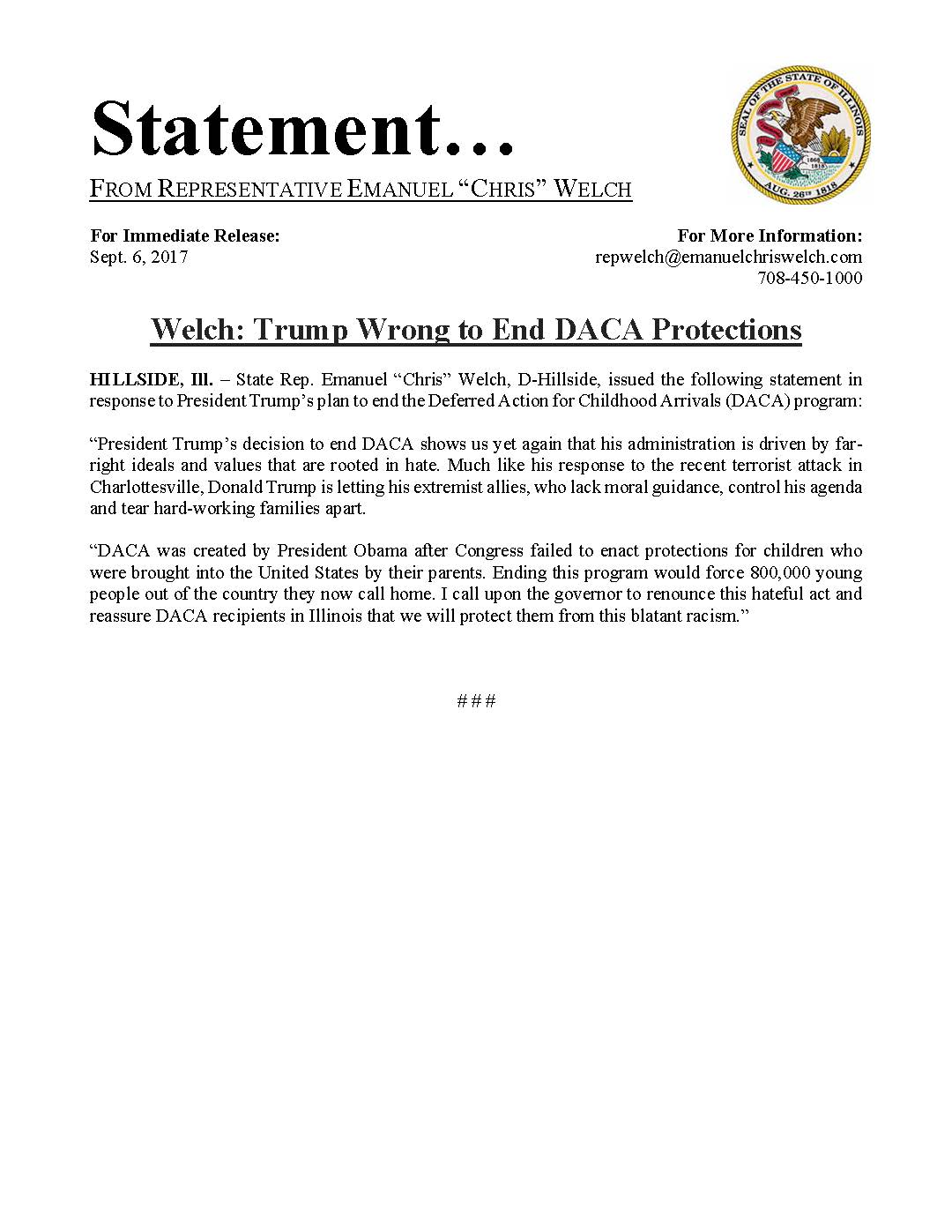 Welch: Trump Wrong to End DACA Protections  (September 6, 2017)