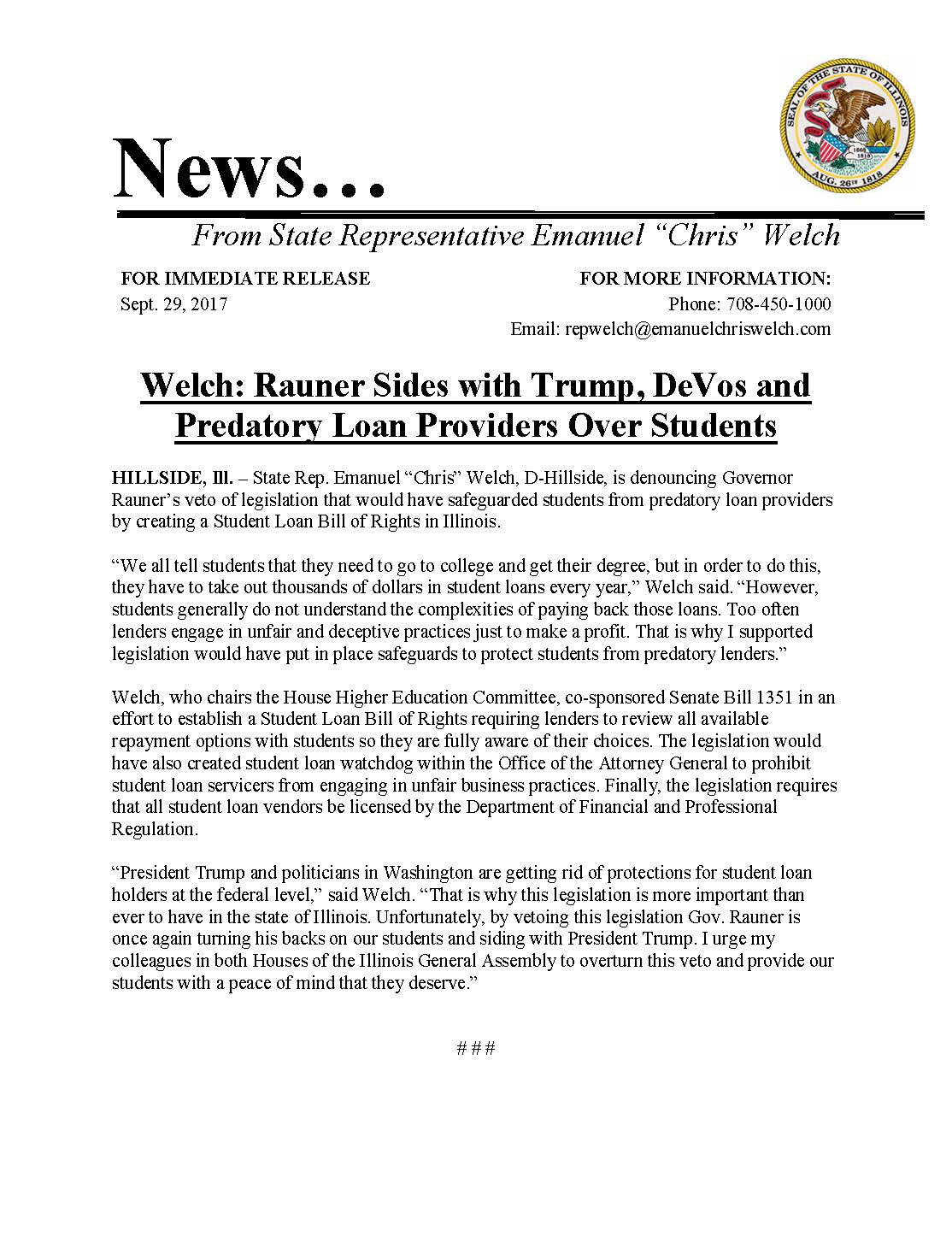 Welch: Rauner Sides with Trump  (September 29, 2017)
