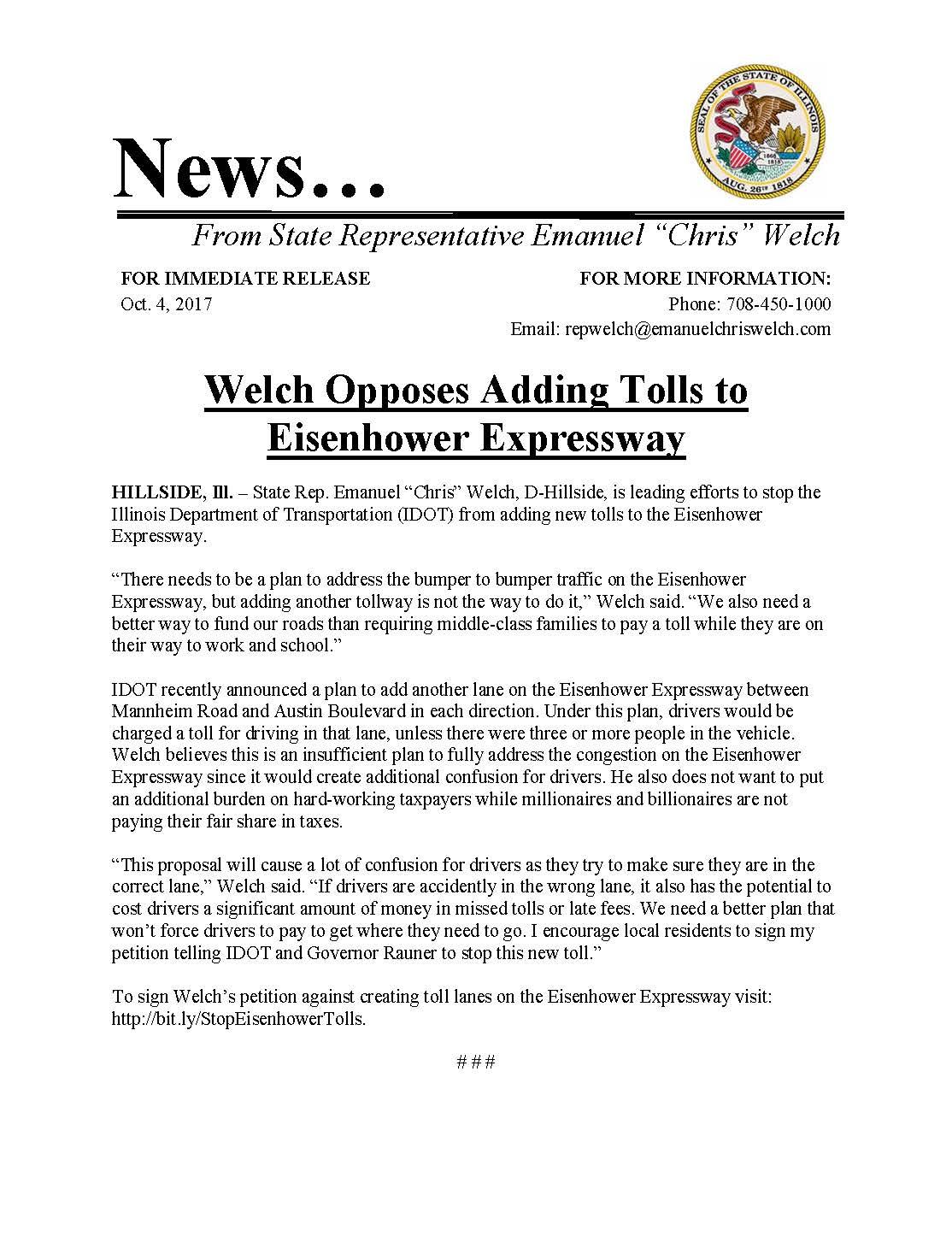 Welch Opposes Adding Tolls to Eisenhower Expressway  (October 4, 2017)