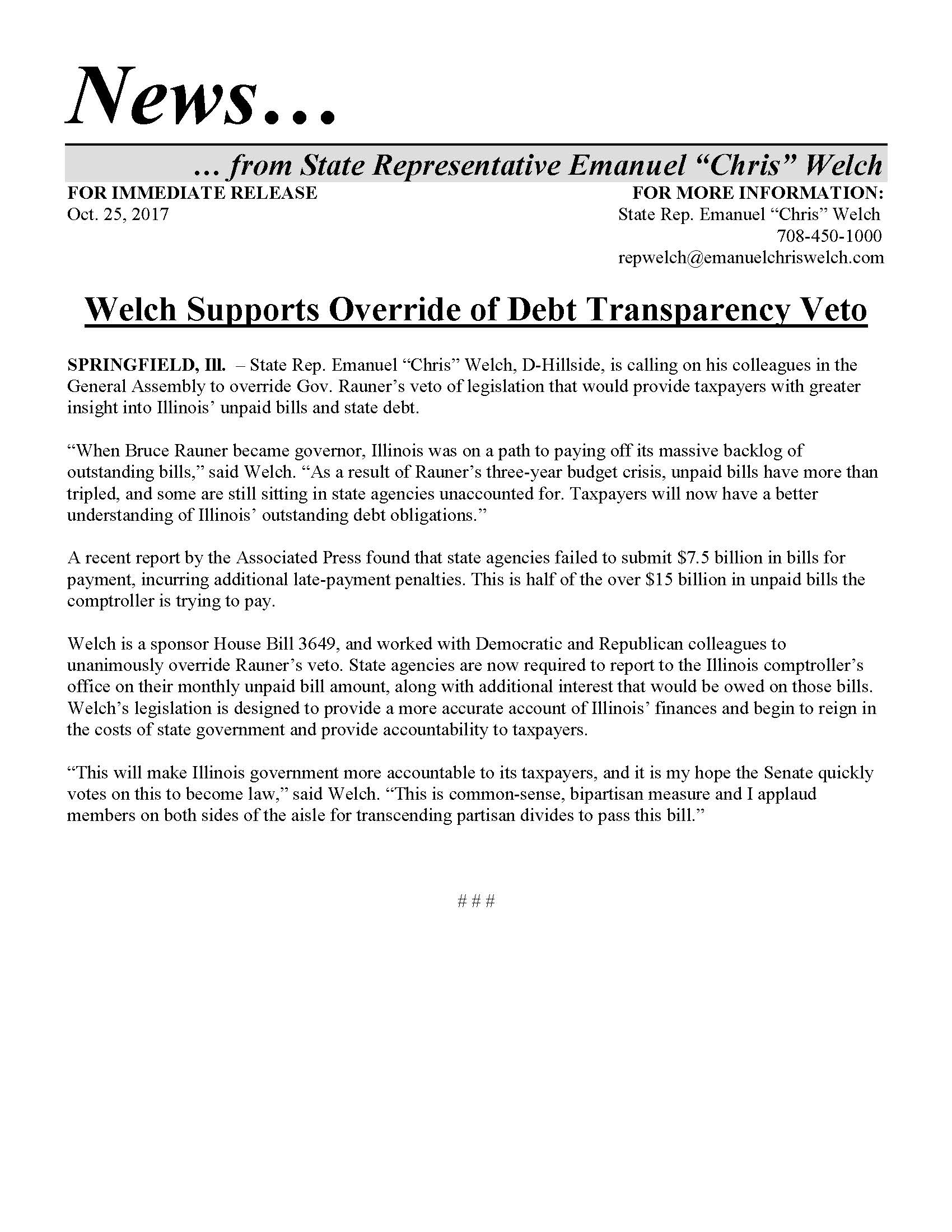 Welch Supports Override of Debt Transparency Veto  (October 25, 2017)