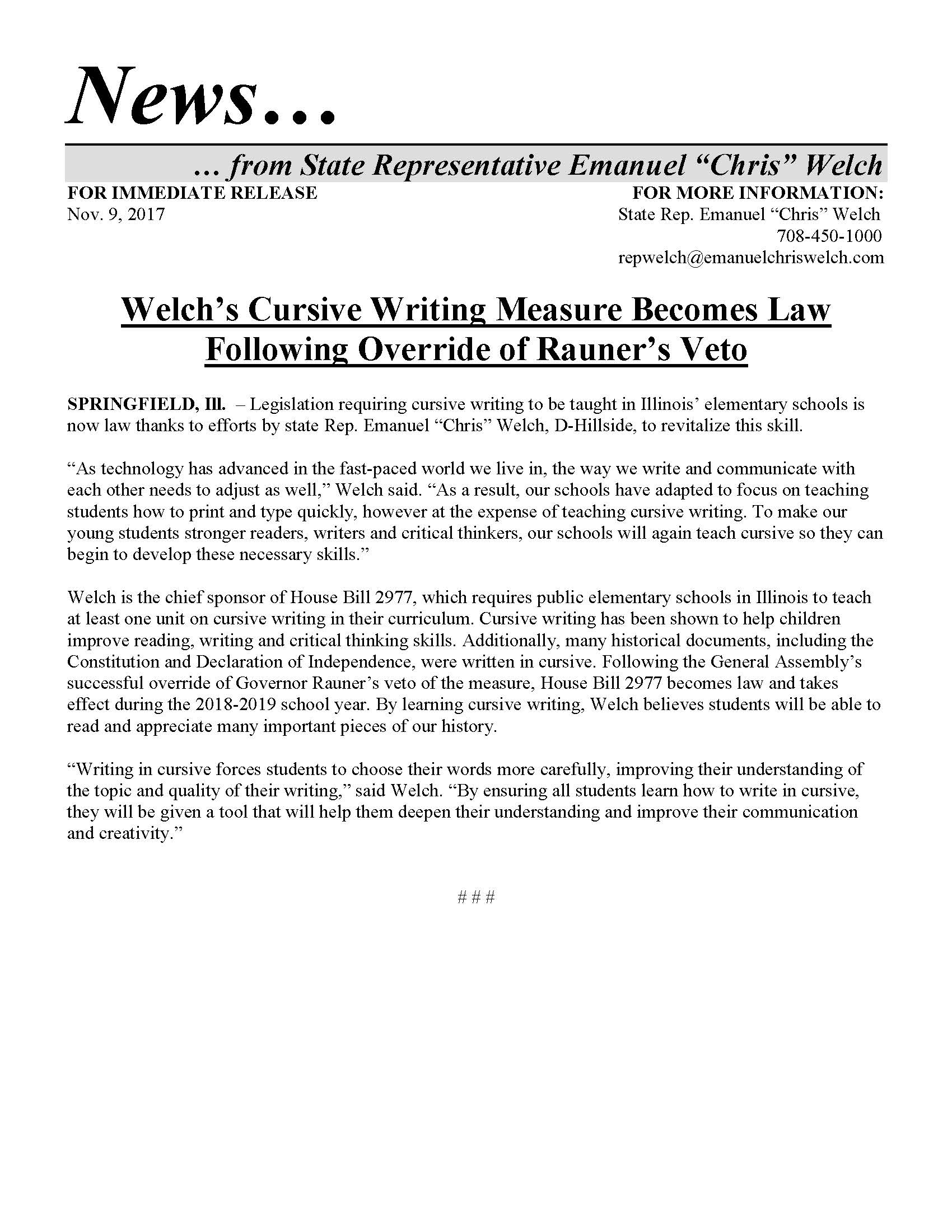 Welch's Cursive Writing Measure Becomes Law   (November 9, 2017)