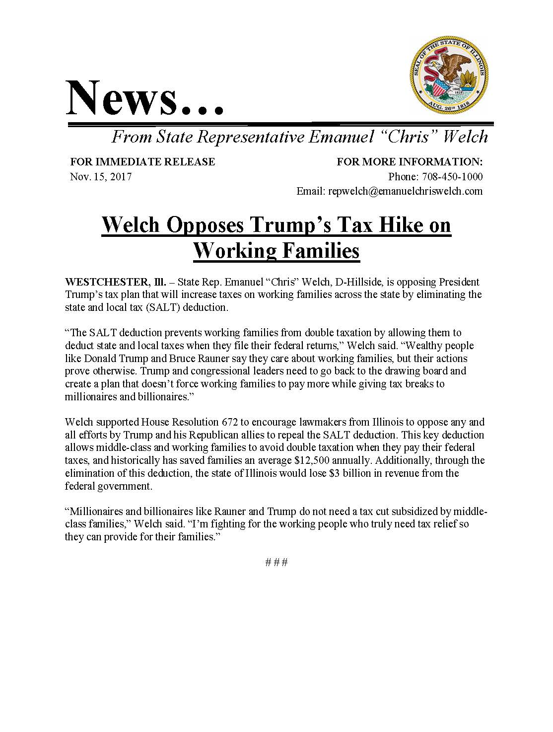 Welch Opposes Trump's Tax Hike on Working Families  (November 15, 2017)