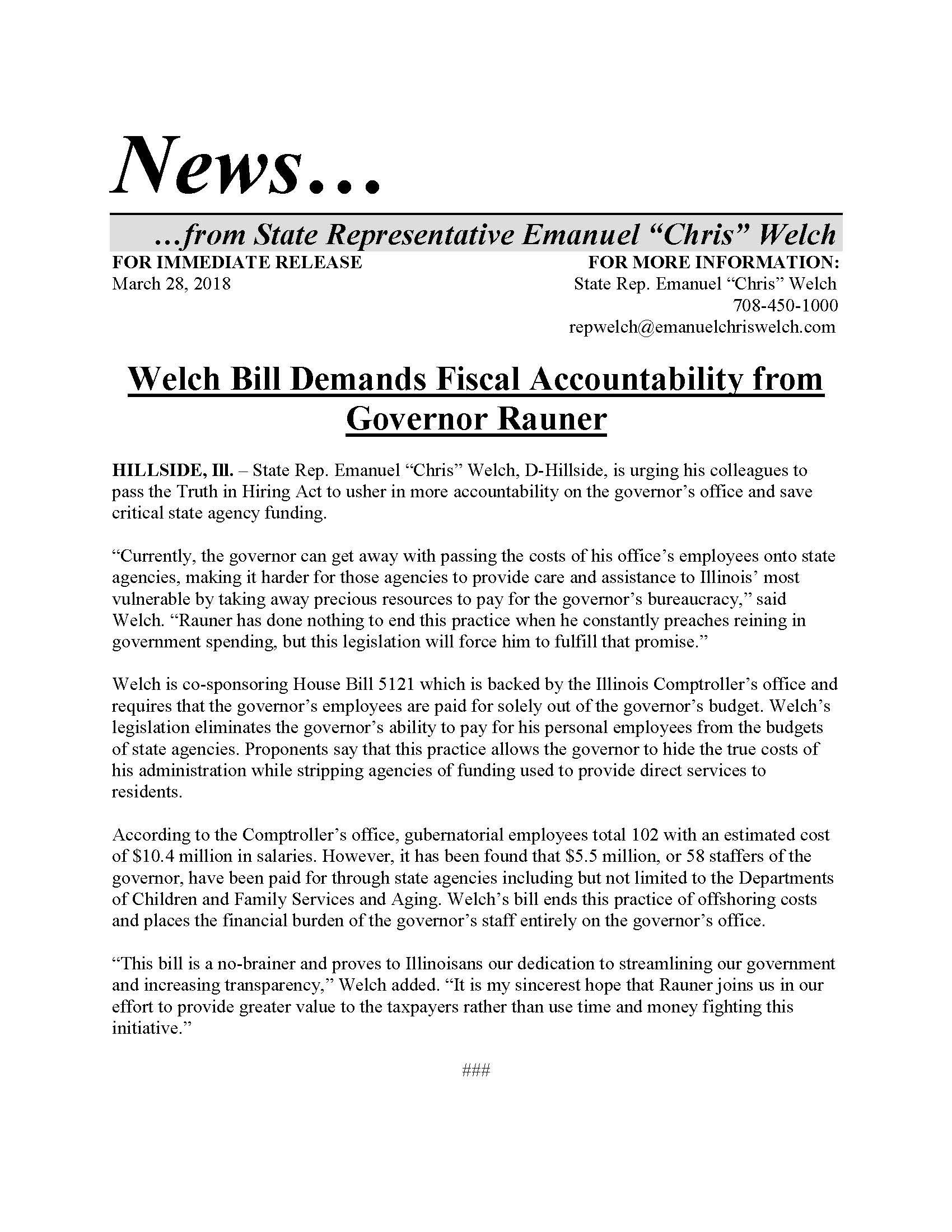 Welch Bill Demands Fiscal Accountability  (March 28, 2018)