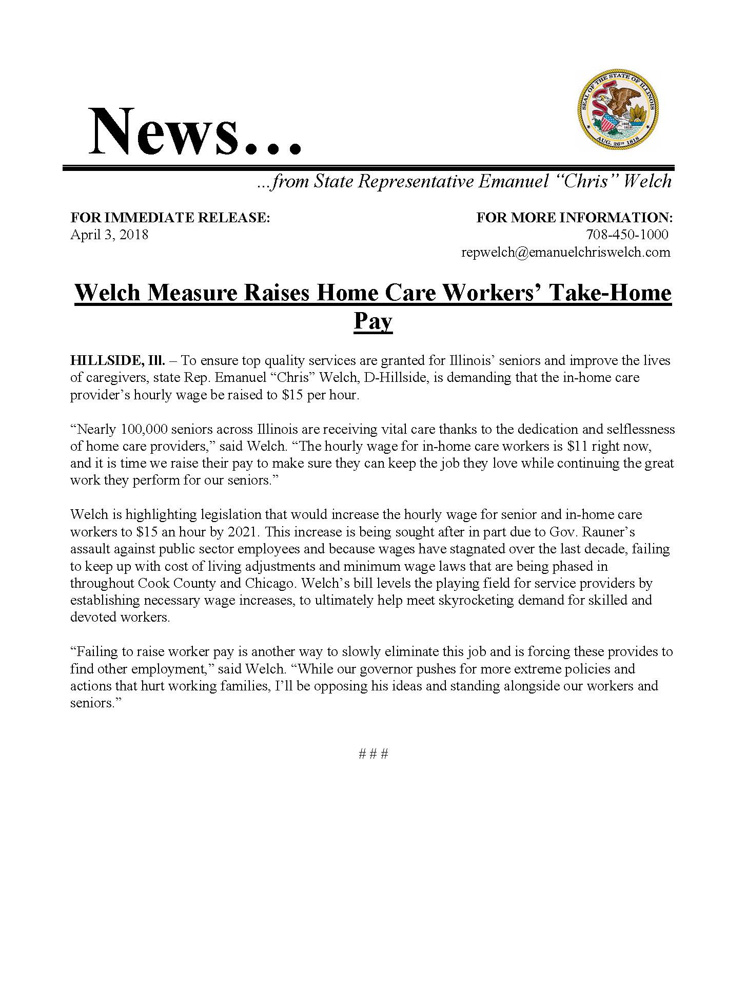 Welch Measure Raises Home Care Workers' Take-Home Pay  (April 3, 2018)