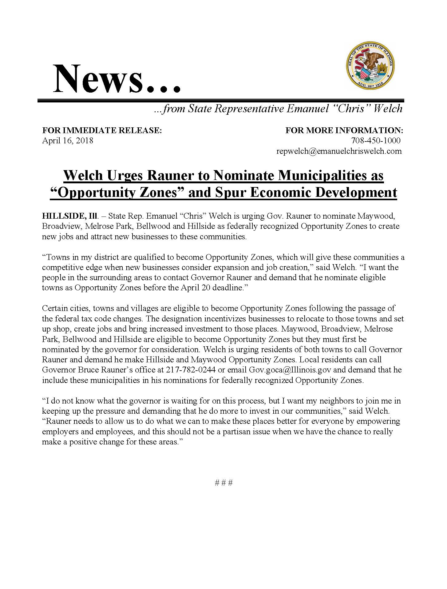 """Welch Urges Rauner to Nominate Municipalities as """"Opportunitiy Zones""""  (April 16, 2018)"""