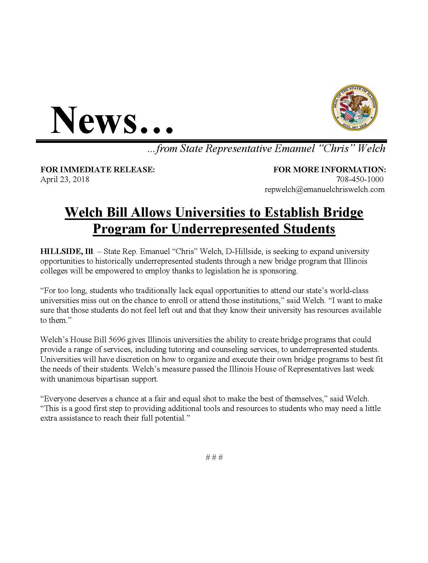 Welch Bill Allows Universities to Establish Bridge Program for Underrepresented Students  (April 23, 2018)