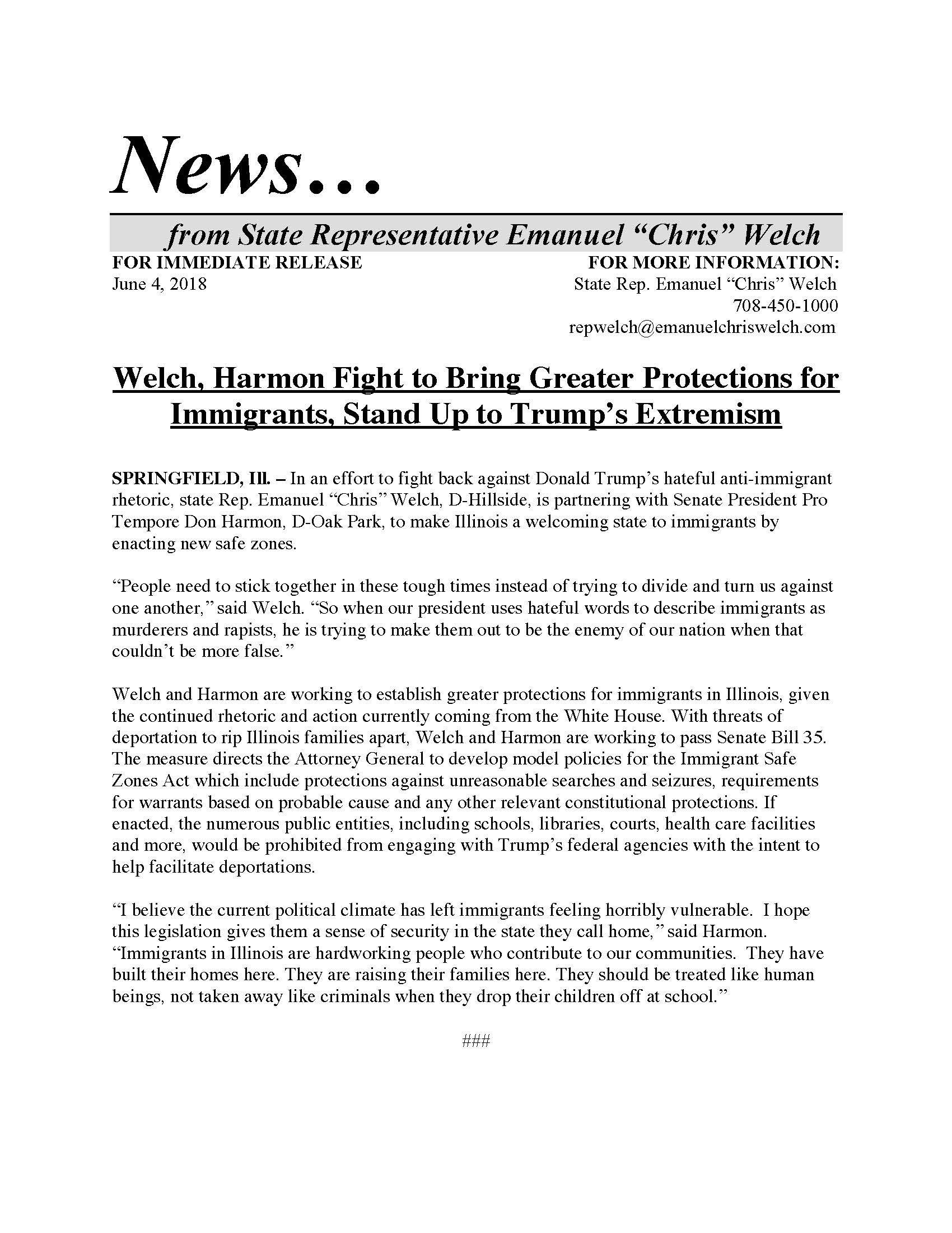Welch, Harmon Fight to Bring Greater Protections for Immigrants  (June 4, 2018)