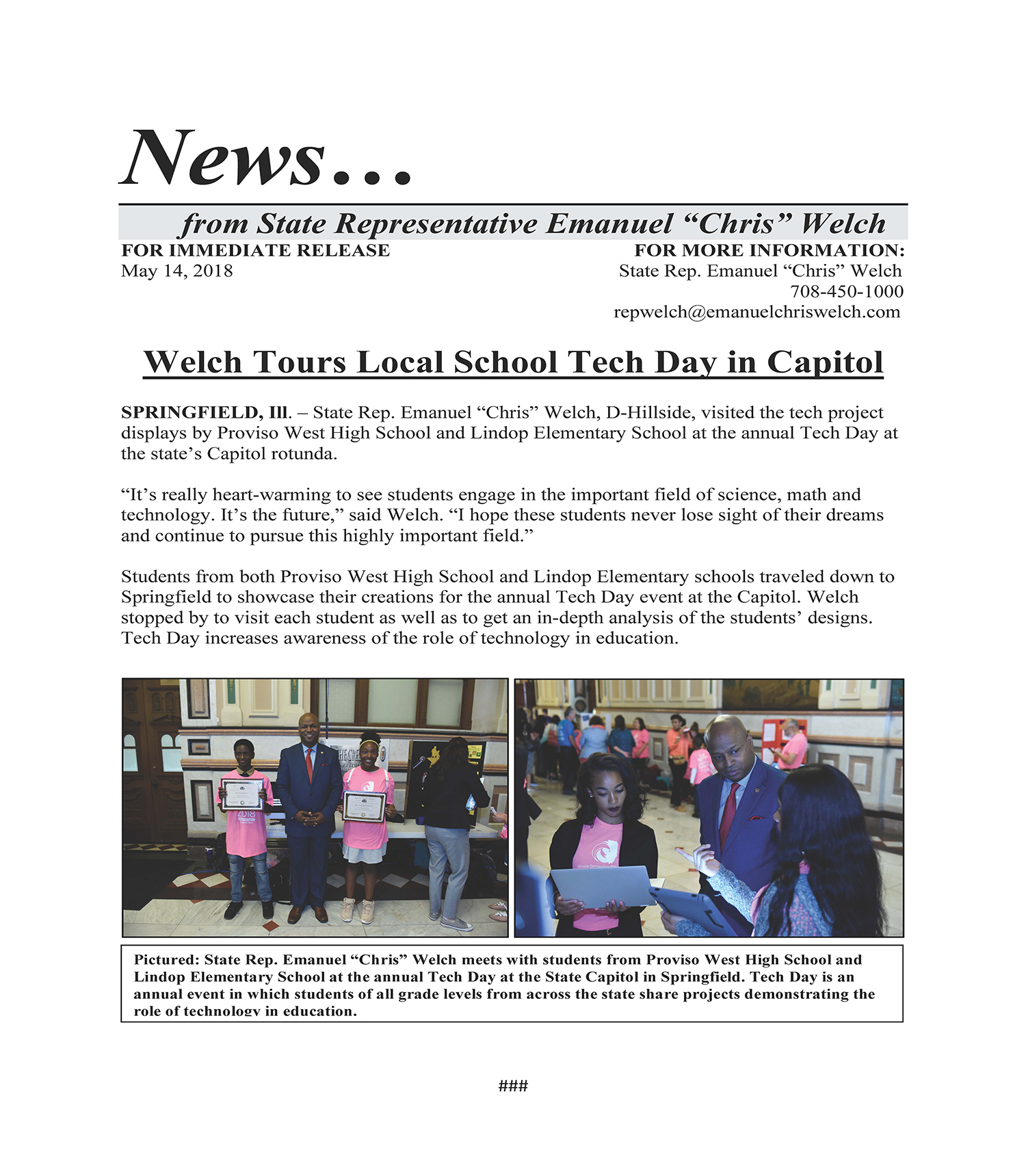 Welch Tours Local School Tech Day in Capitol  (May 14, 2018)