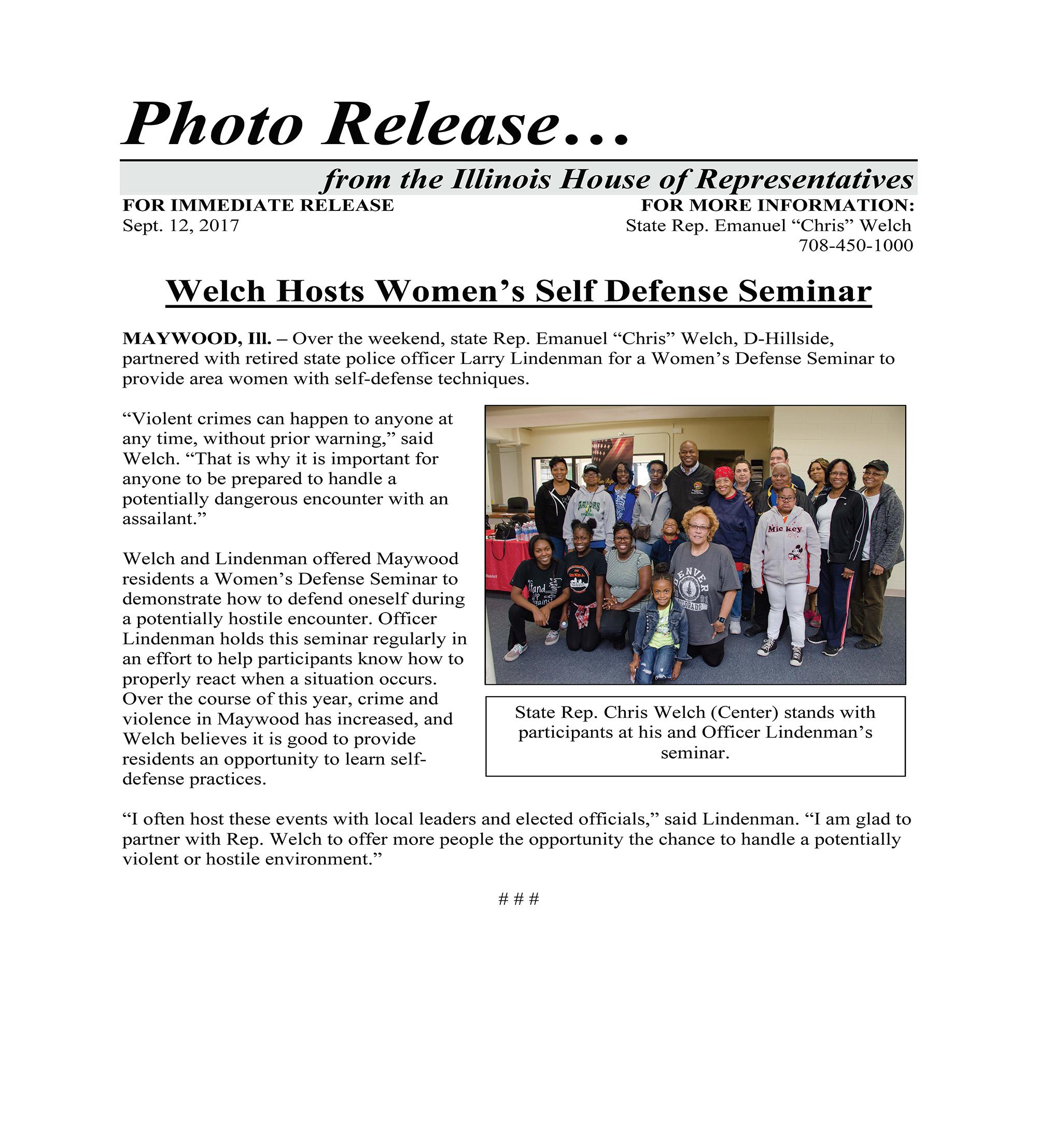 Welch Hosts Women's Self Defense Seminar  (September 12, 2017)