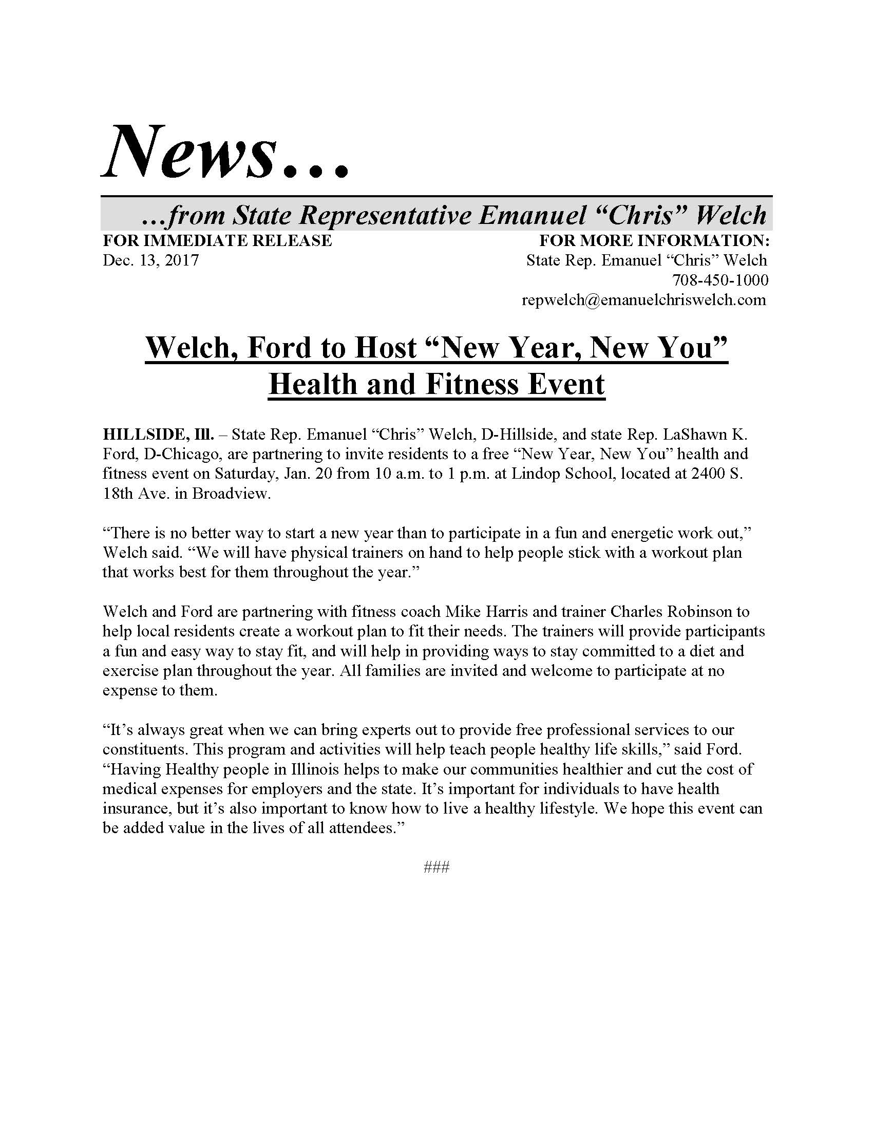 """Welch, Ford to Host """"New Year, New You"""" Health and Fitness Event  (December 13, 2017)"""