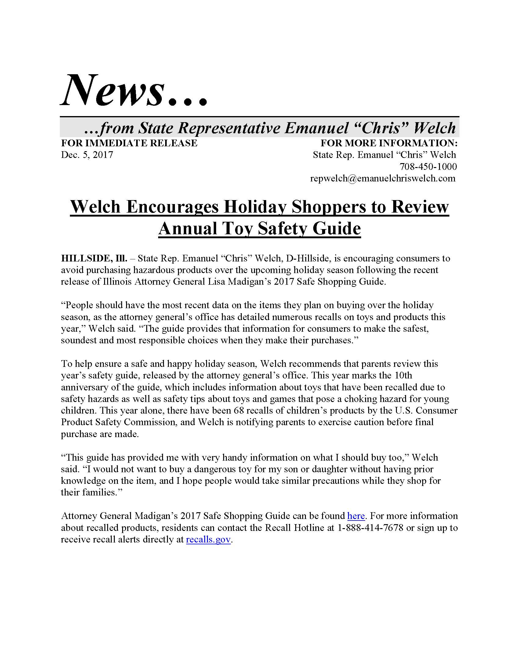 Welch Encourages Holiday Shoppers to Review Annual Toy Safety Guide  (December 5, 2017)