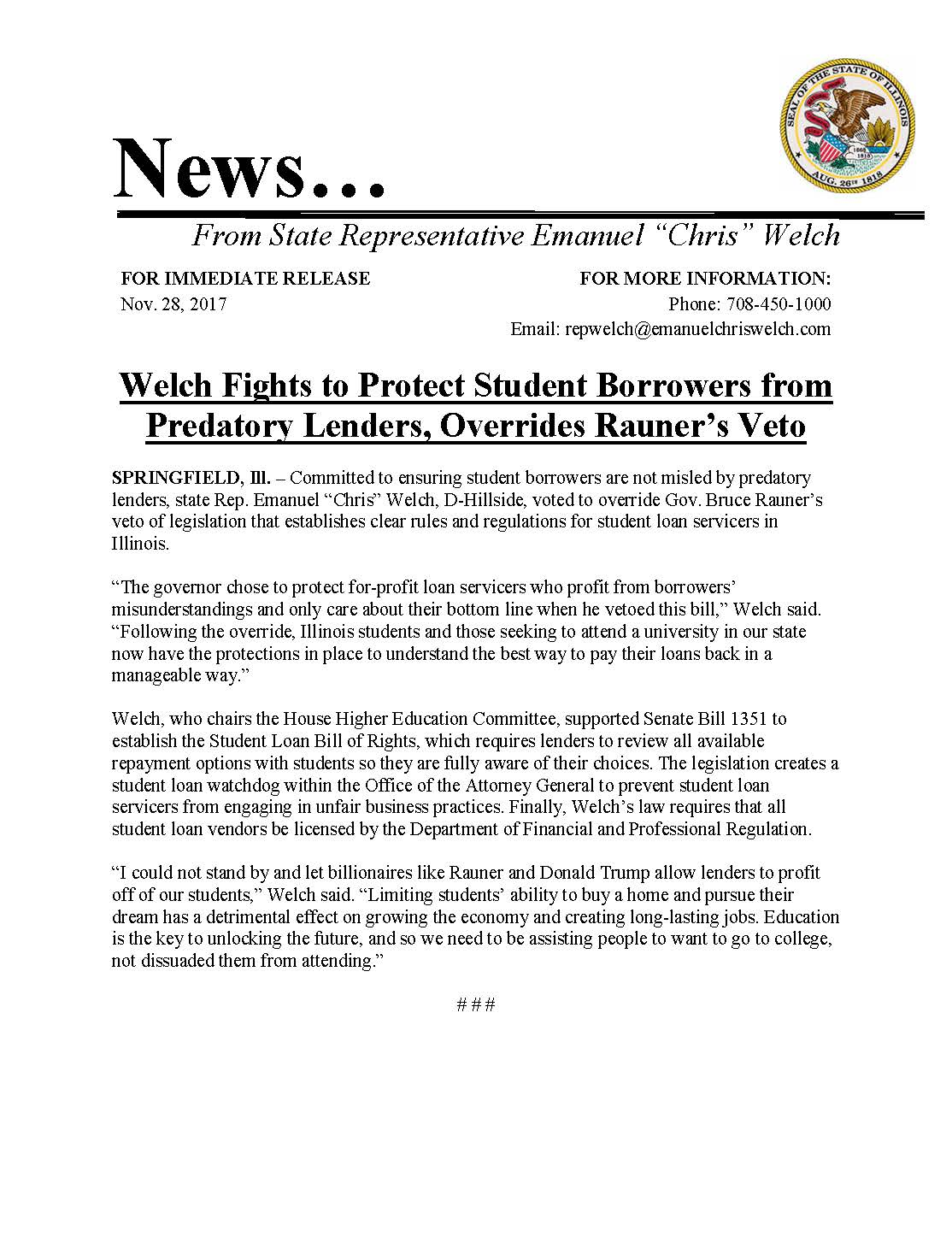 Welch Fights to Protect Student Borrowers  (November 28, 2017)