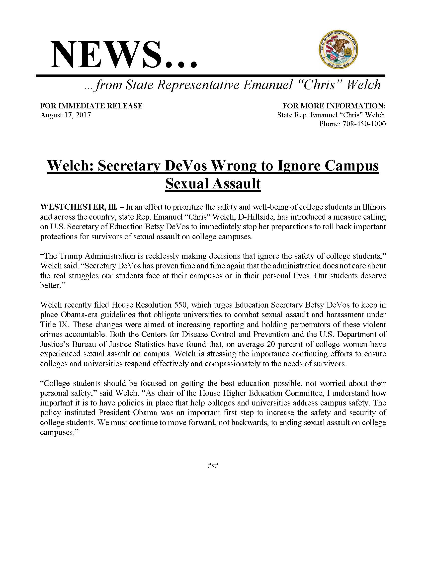 Welch: Secretary DeVos Wrong to Ignore Campus Sexual Assault  (August 17, 2017)