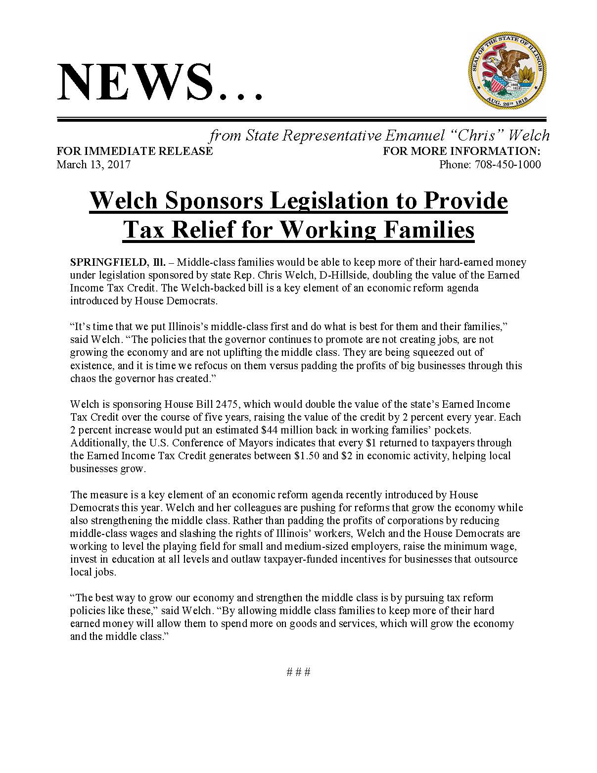 Welch Sponsors Legislation to Provide Tax Relief for Working Families  (March 13, 2017)