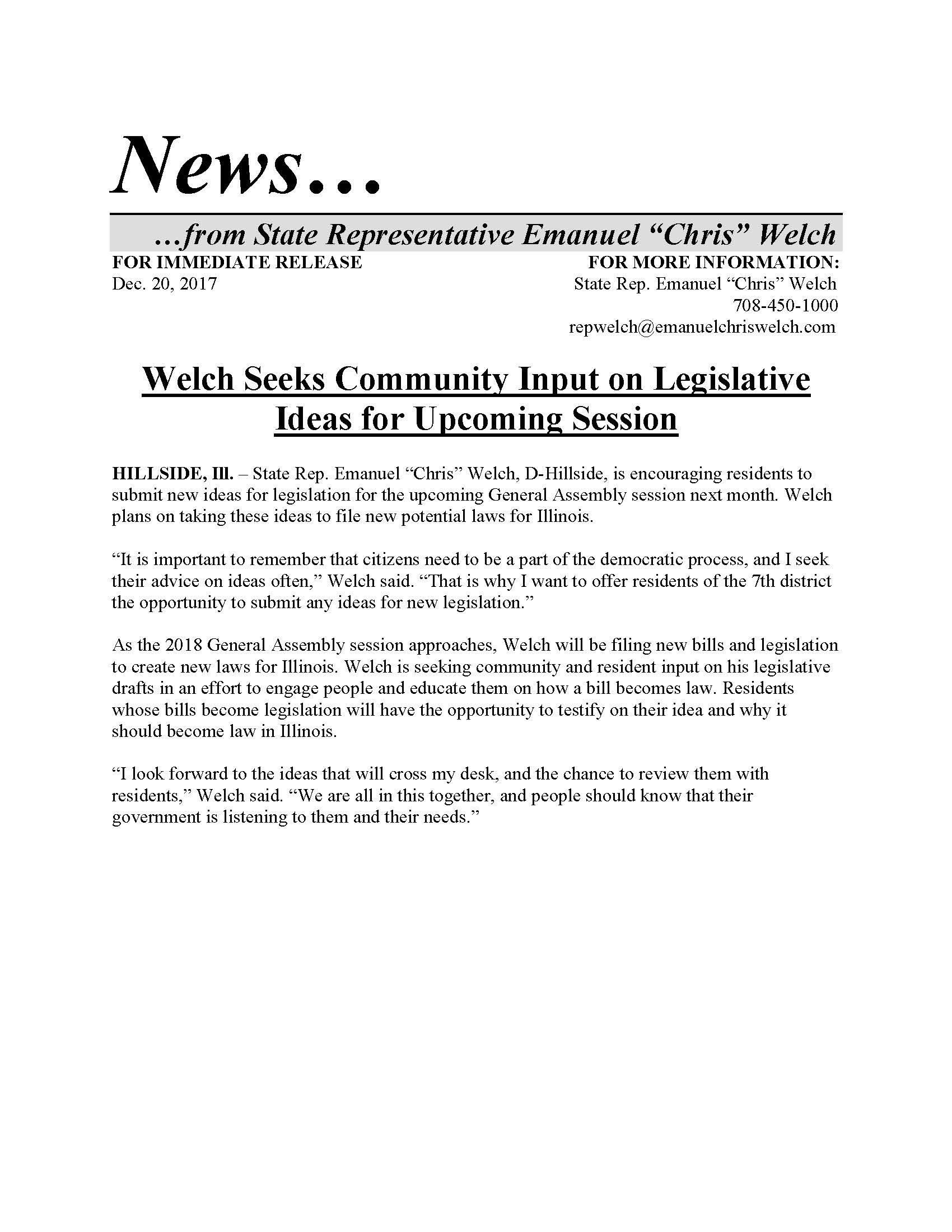 Welch Seeks Community Input on Legislative Ideas  (December 20, 2017)