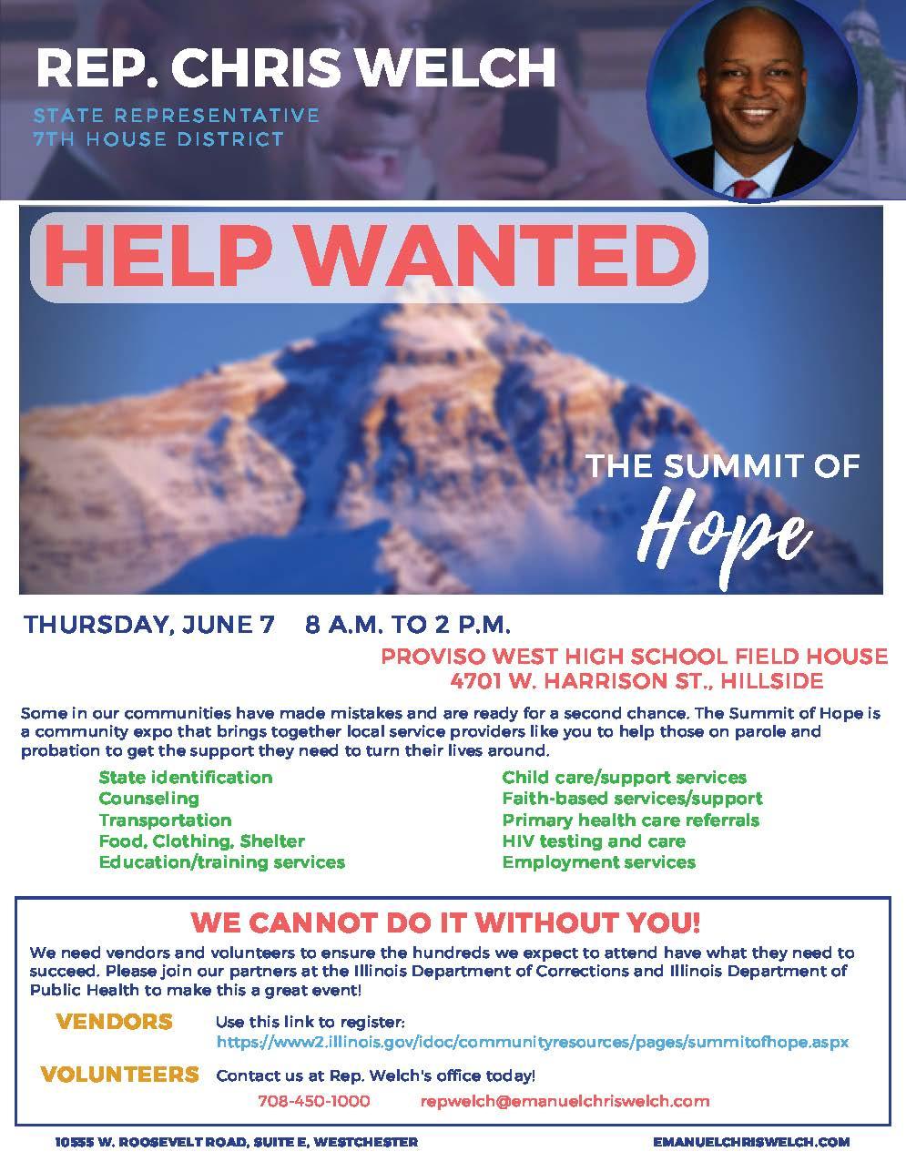 Rep. Chris Welch Summit of Hope vendor-volunteer flyer.jpg