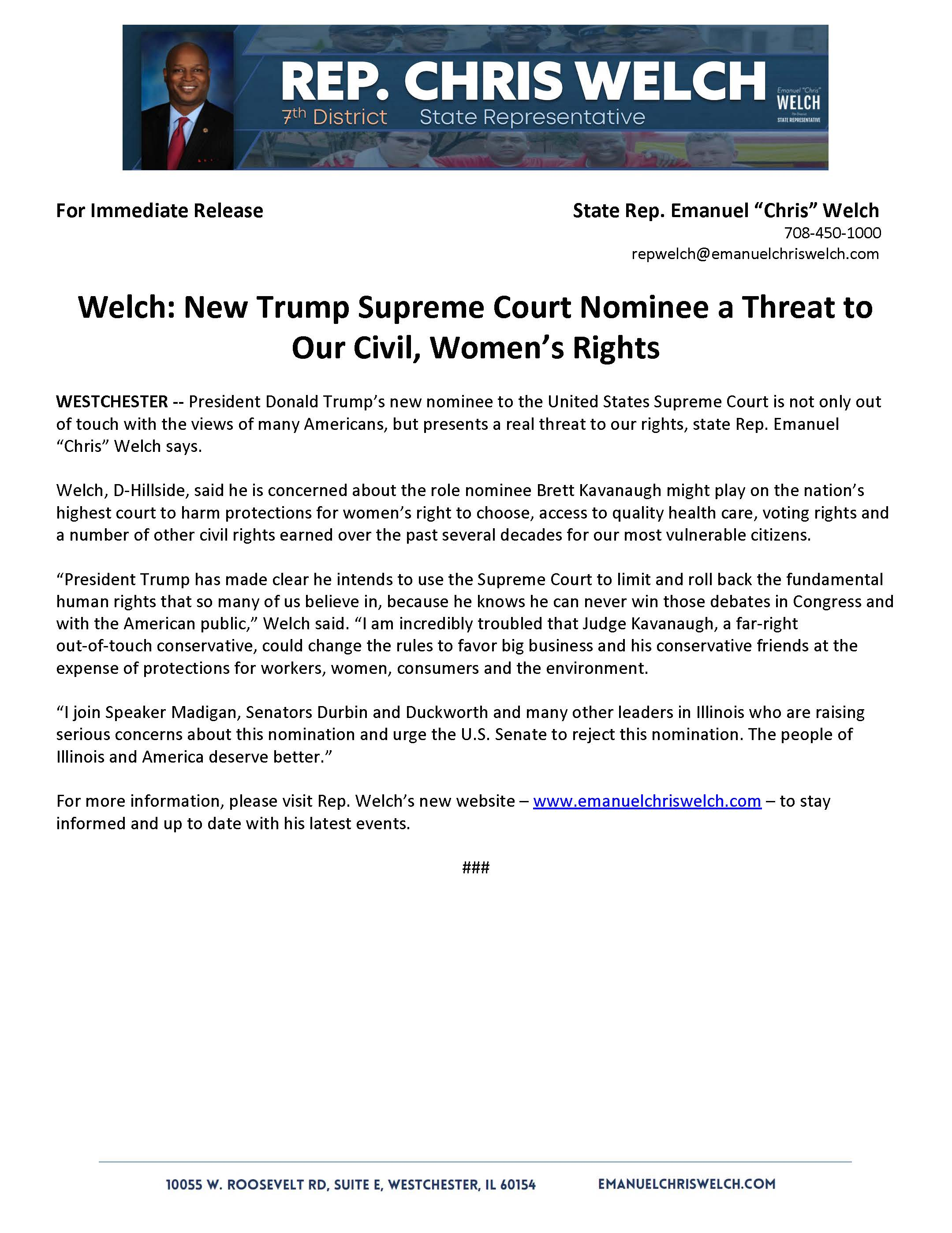 Welch: New Trump Supreme Court Nominee a Threat to Our Civil, Women's Rights  (July 13, 2018)