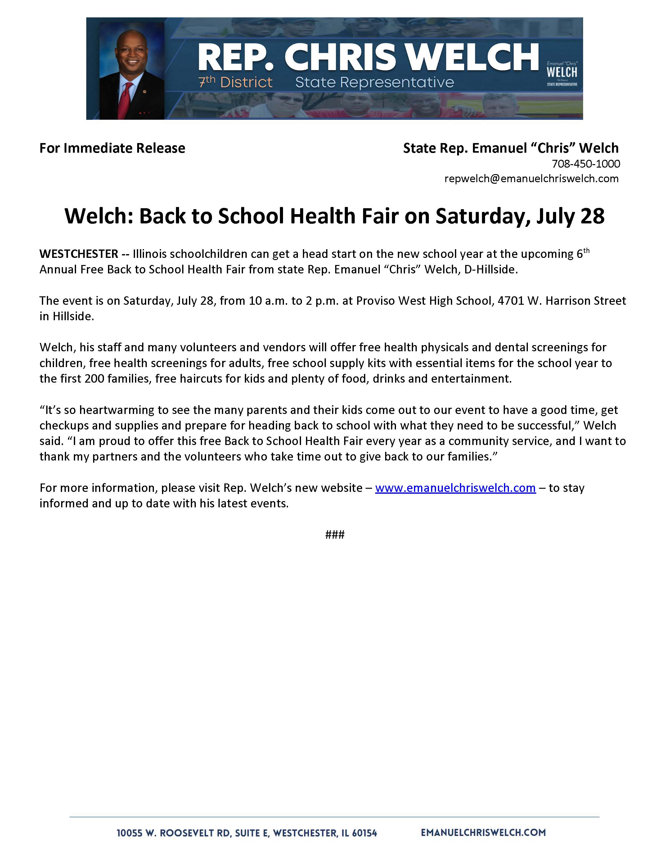 Welch: Back to School Health Fair on Saturday, July 28   (July 27, 2018)