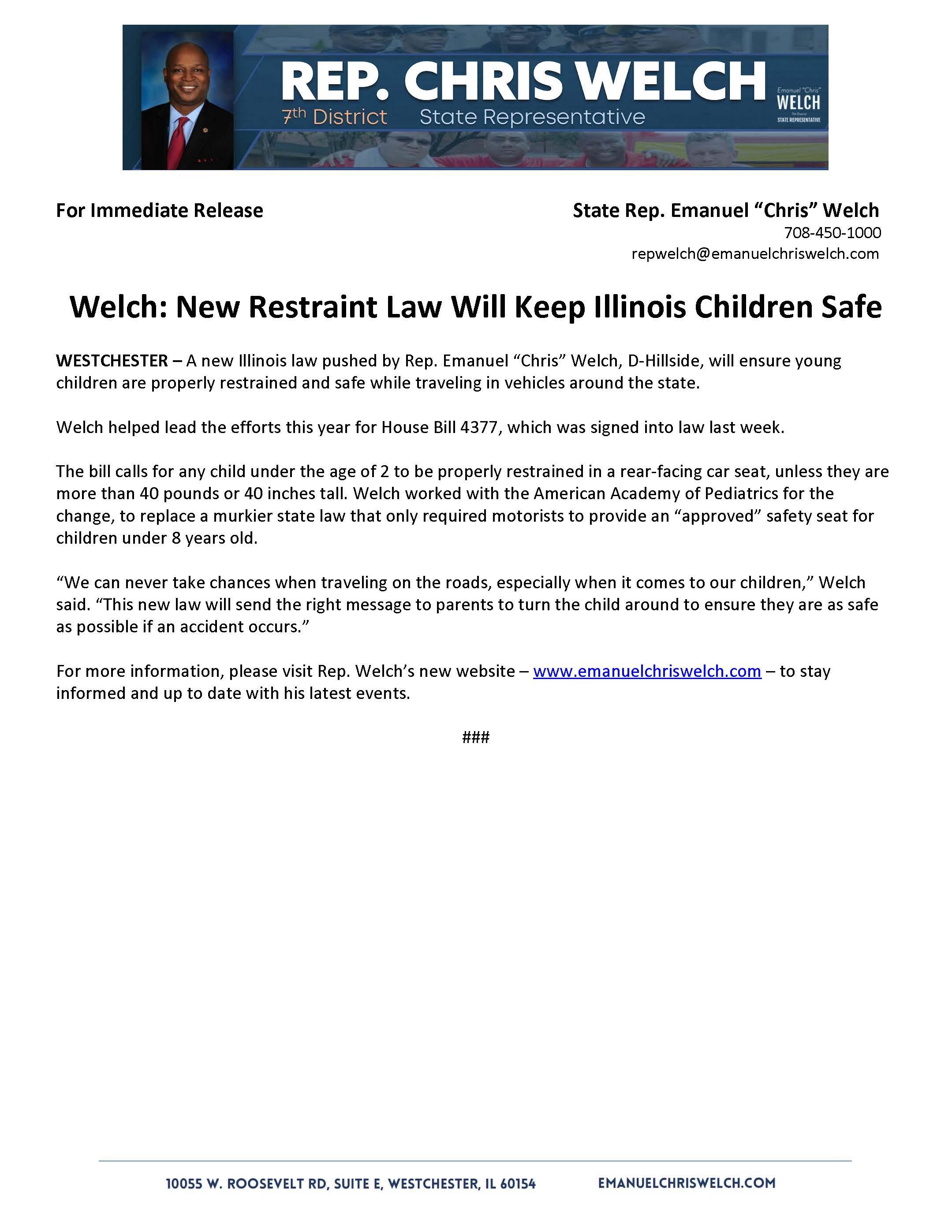 Welch: New Restraint Law Will Keep Illinois Children Safe  (August 10, 2018)