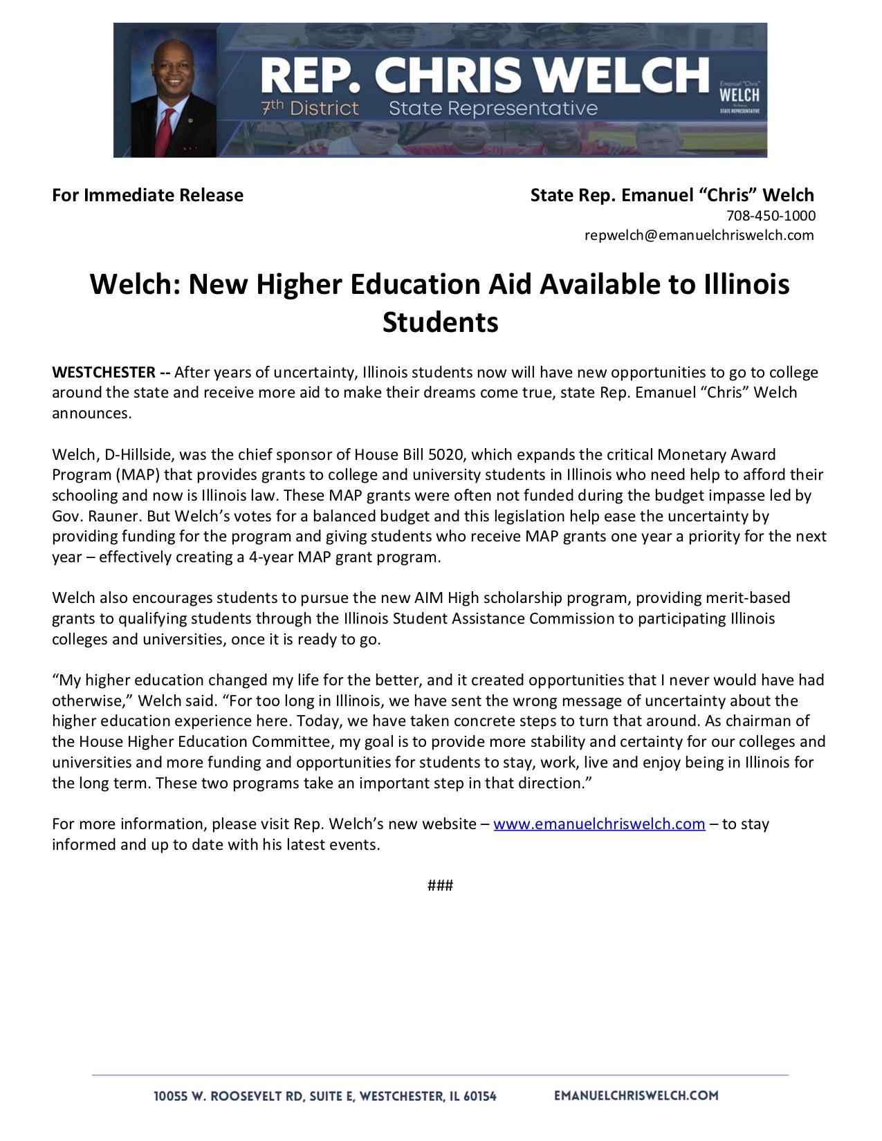 Welch: New Higher Education Aid Available to Illinois Students  (August 13, 2018)