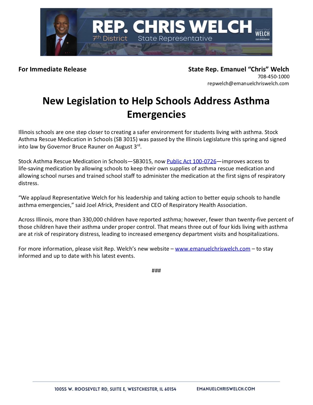 New Legislation to Help Schools Address Asthma Emergencies  (August 15, 2018)