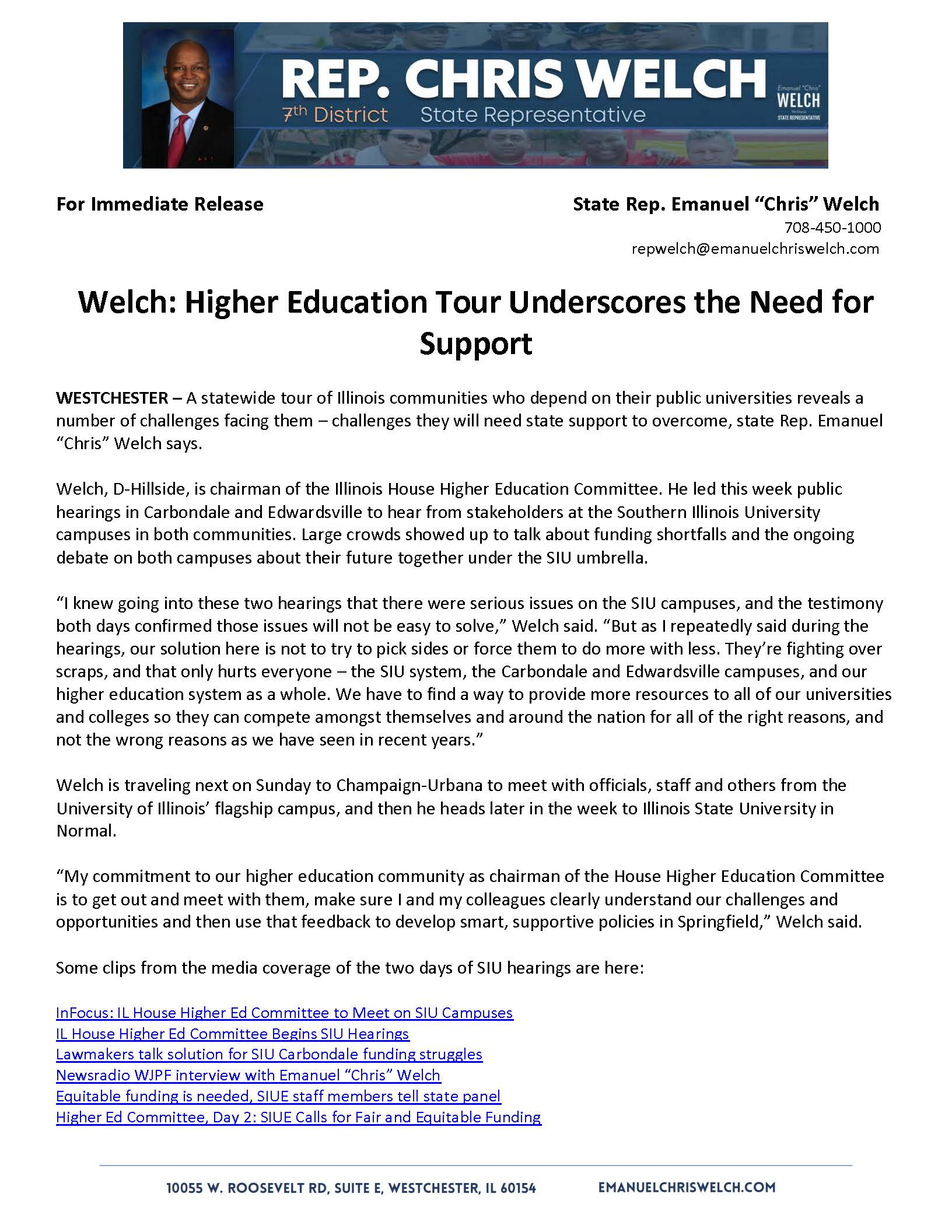 Welch: Higher Education Tour Underscores the Need for Support