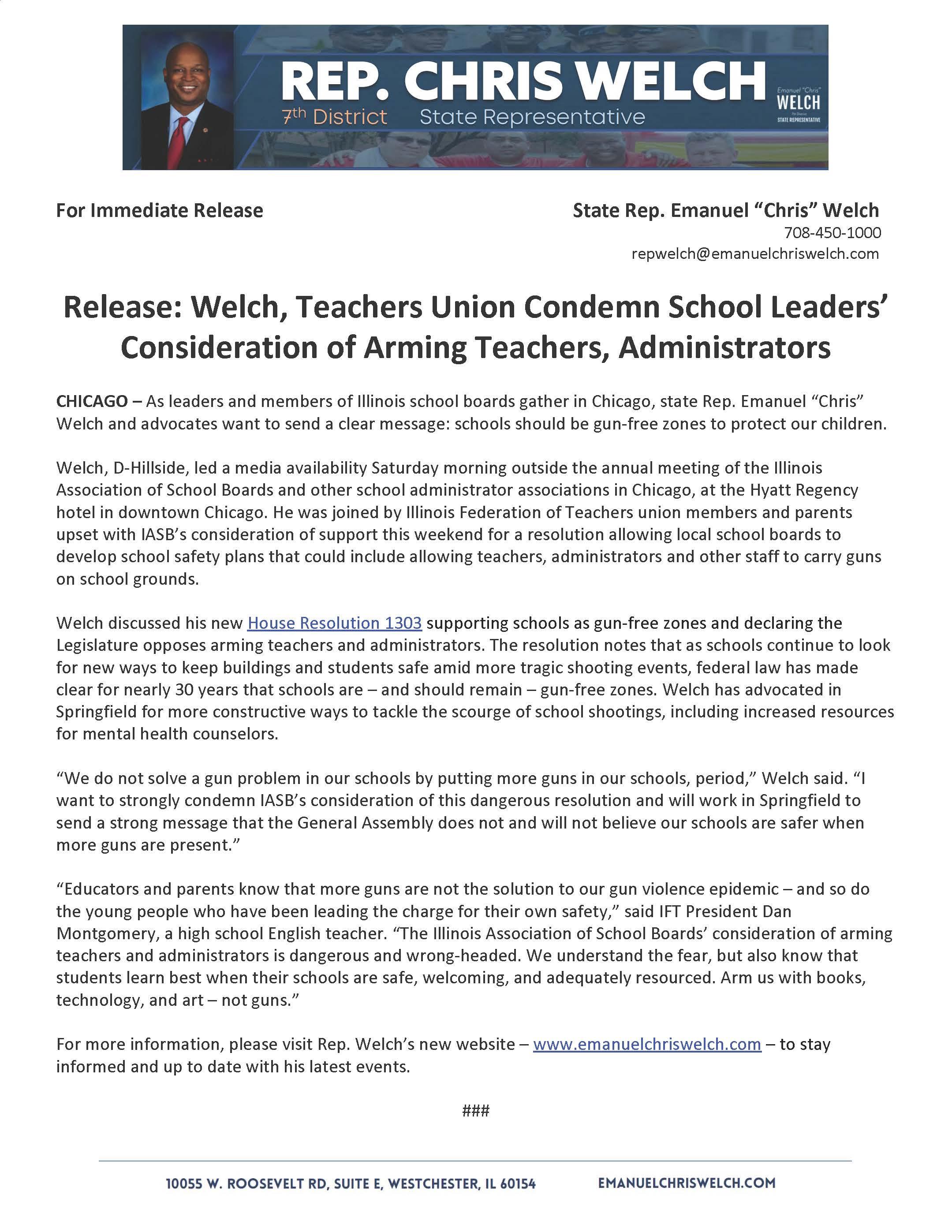Welch, Teachers Union Condemn School Leaders' Consideration of Arming Teachers, Administrators  (November 17, 2018)