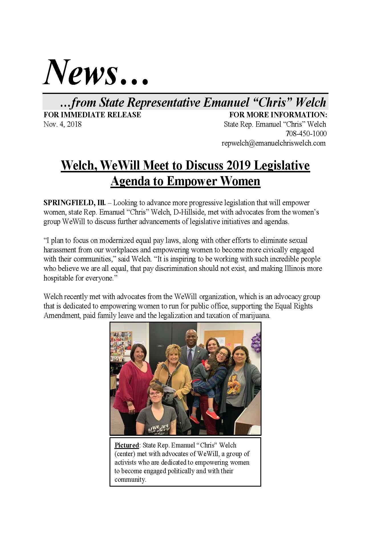 Welch, WeWill Meet to Discuss 2019 Legislative Agenda to Empower Women  (November 4, 2018)