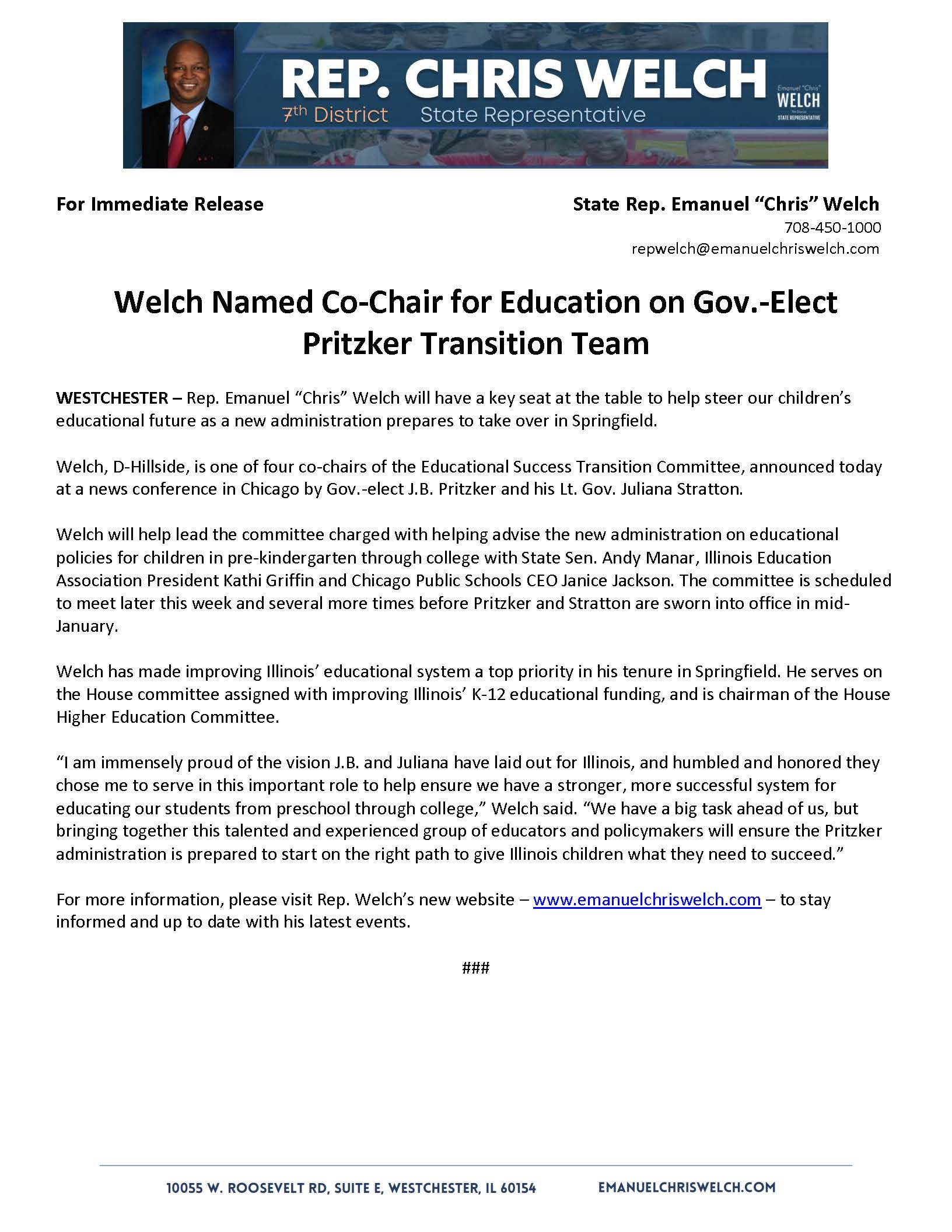 Welch Named Co-Chair for Education on Gov.-Elect Pritzker Transition Team  (November 27, 2018)