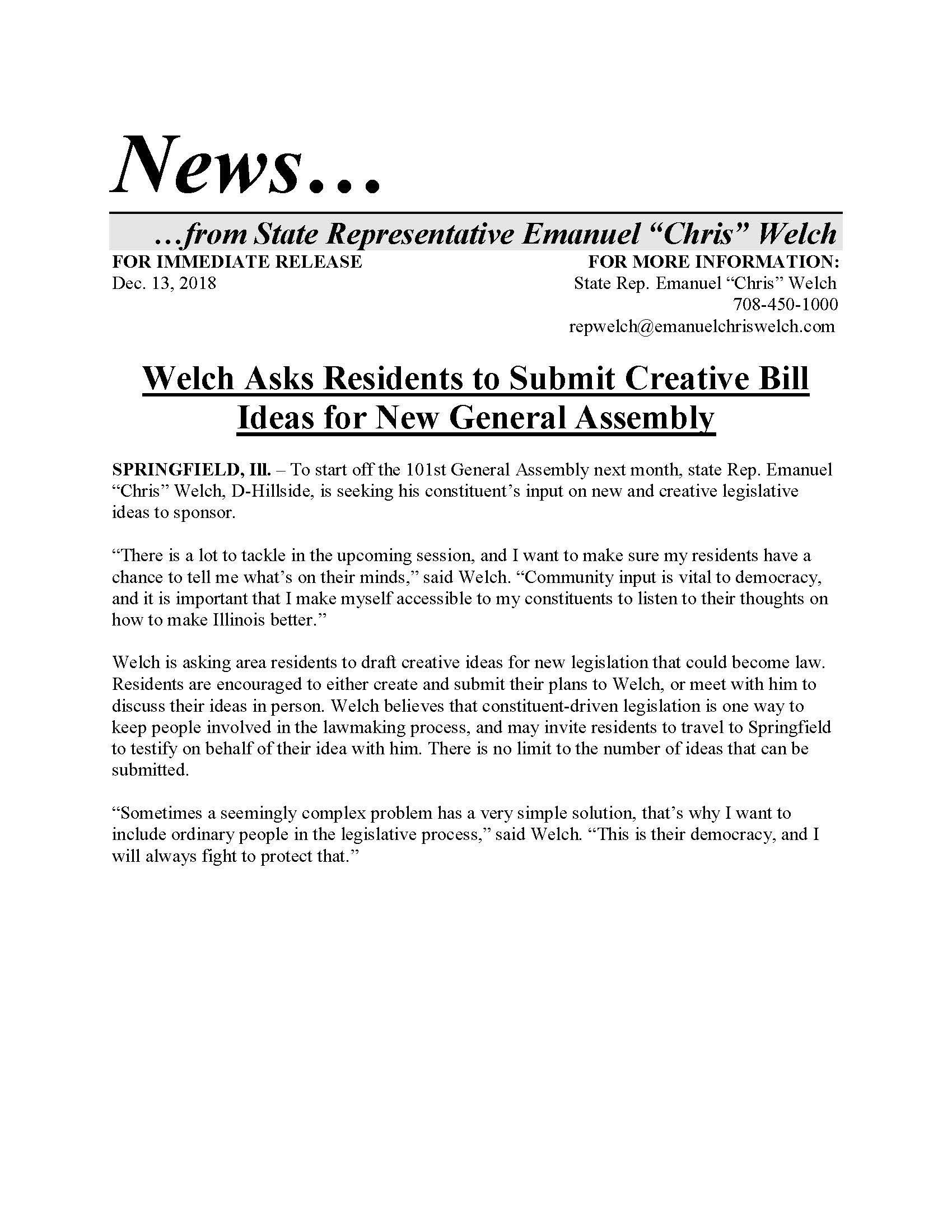 Welch Asks Residents to Submit Creative Bill Ideas for New General Assembly  (December 13, 2018)