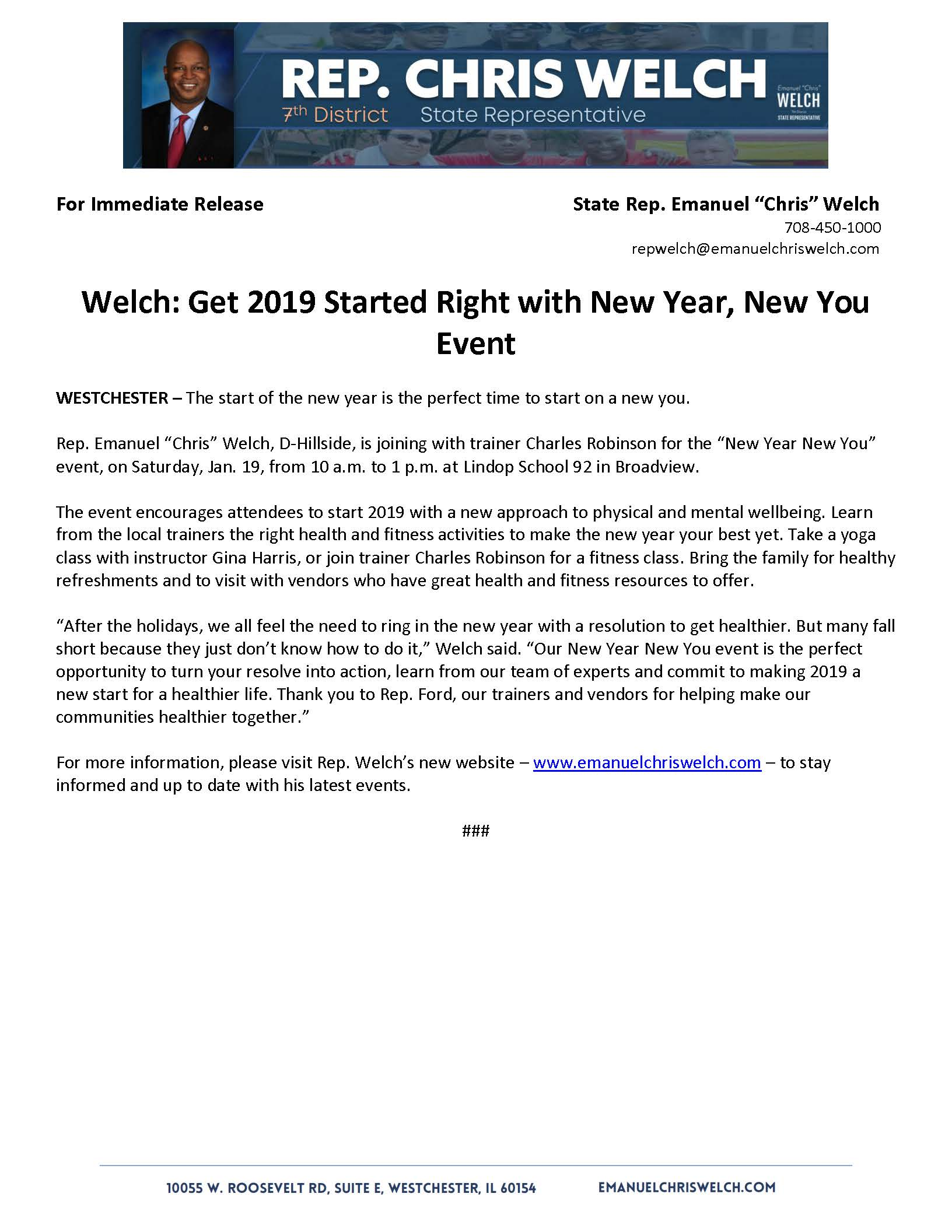 Welch: Get 2019 Started Right with New Year, New You Event  (December 18, 2018)