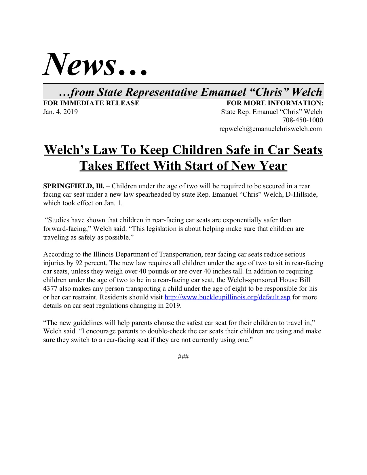 Welch's Law To Keep Children Safe in Car Seats Takes Effect With Start of New Year  (January 4, 2019)