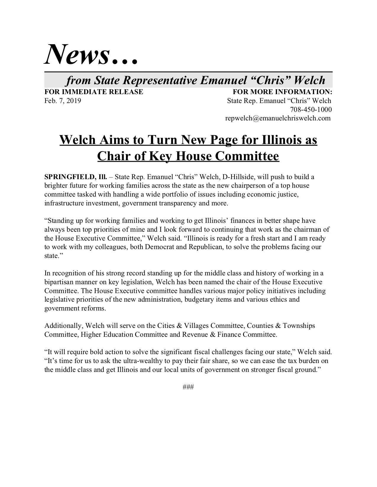Welch Aims to Turn New Page for Illinois as Chair of Key House Committee  (February 7, 2019)