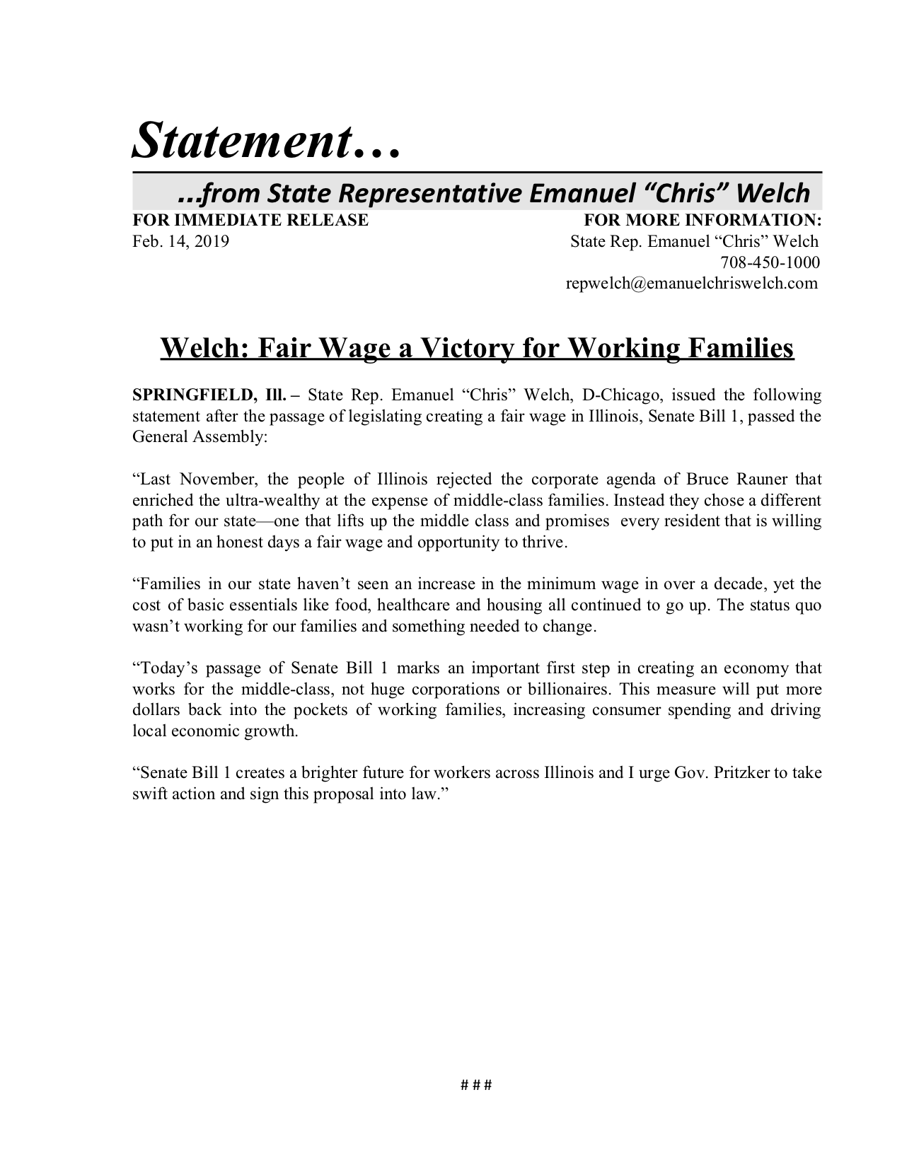 Willis, Welch to Spearhead Hearing Examining Westlake Hospital Closure  (February 14, 2019)