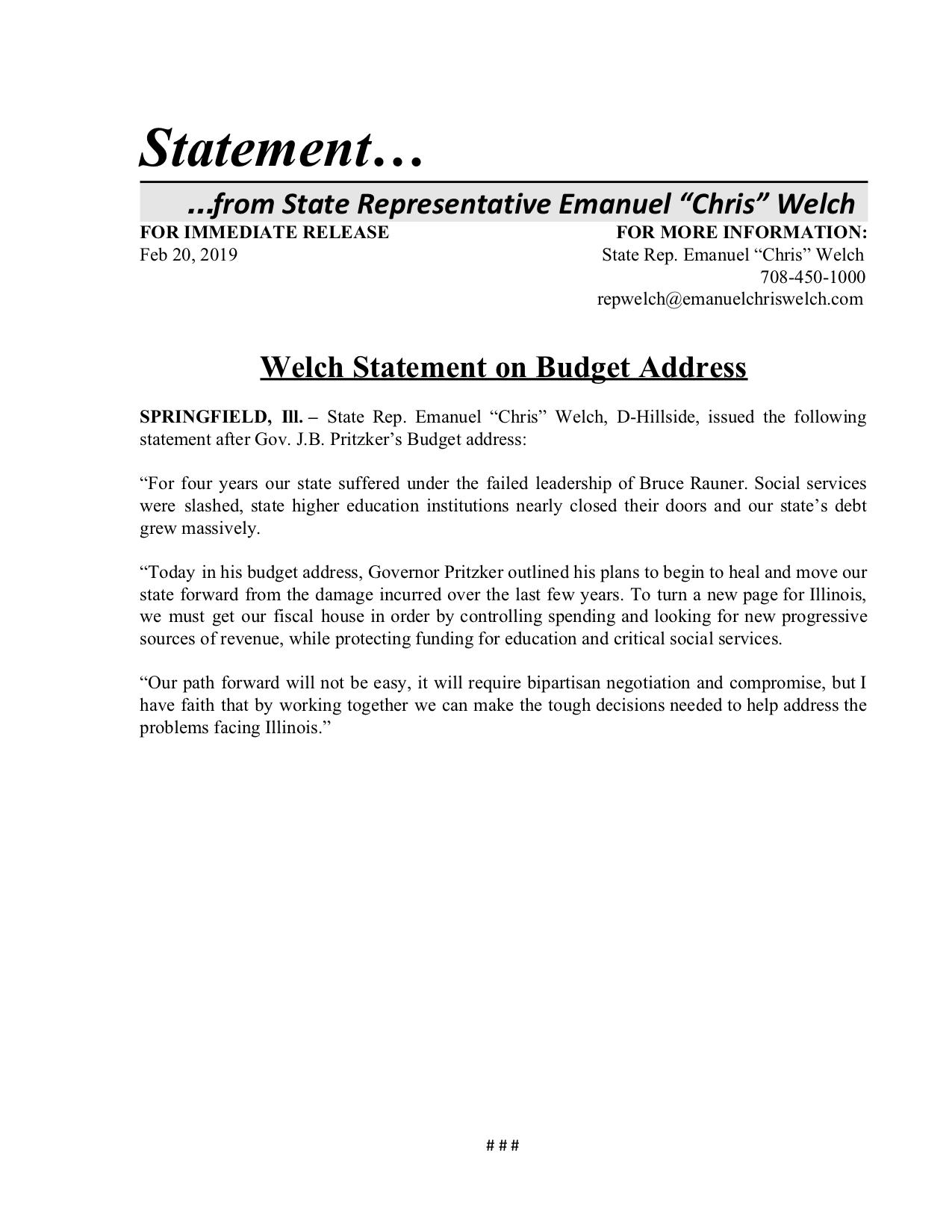 Willis, Welch to Spearhead Hearing Examining Westlake Hospital Closure  (February 20, 2019)