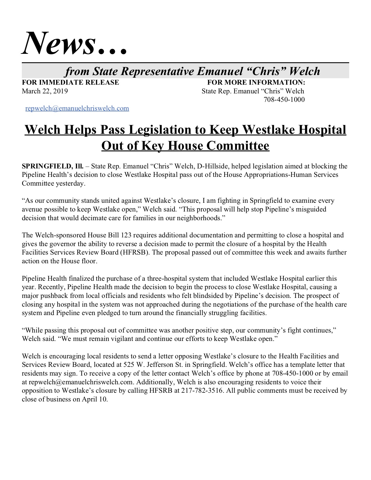 Welch Helps Pass Legislation to Keep Westlake Hospital Out of Key House Committee  (March 22, 2019)