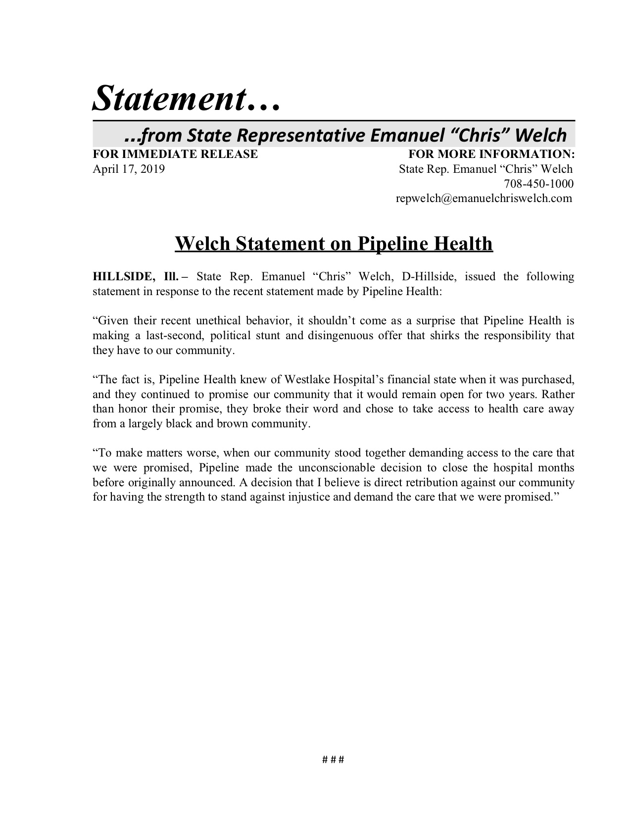 Welch Statement on Pipeline Health  (April 17, 2019)