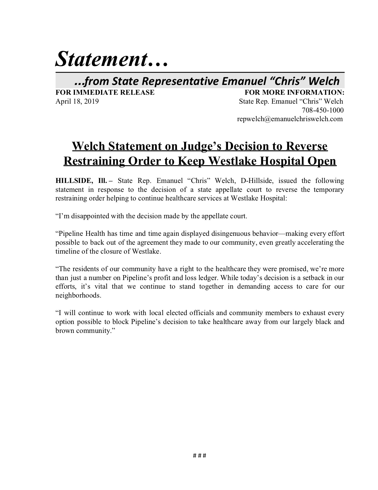 Welch Statement on Judge's Decision to Reverse Restraining Order to Keep Westlake Hospital Open  (April 18, 2019)