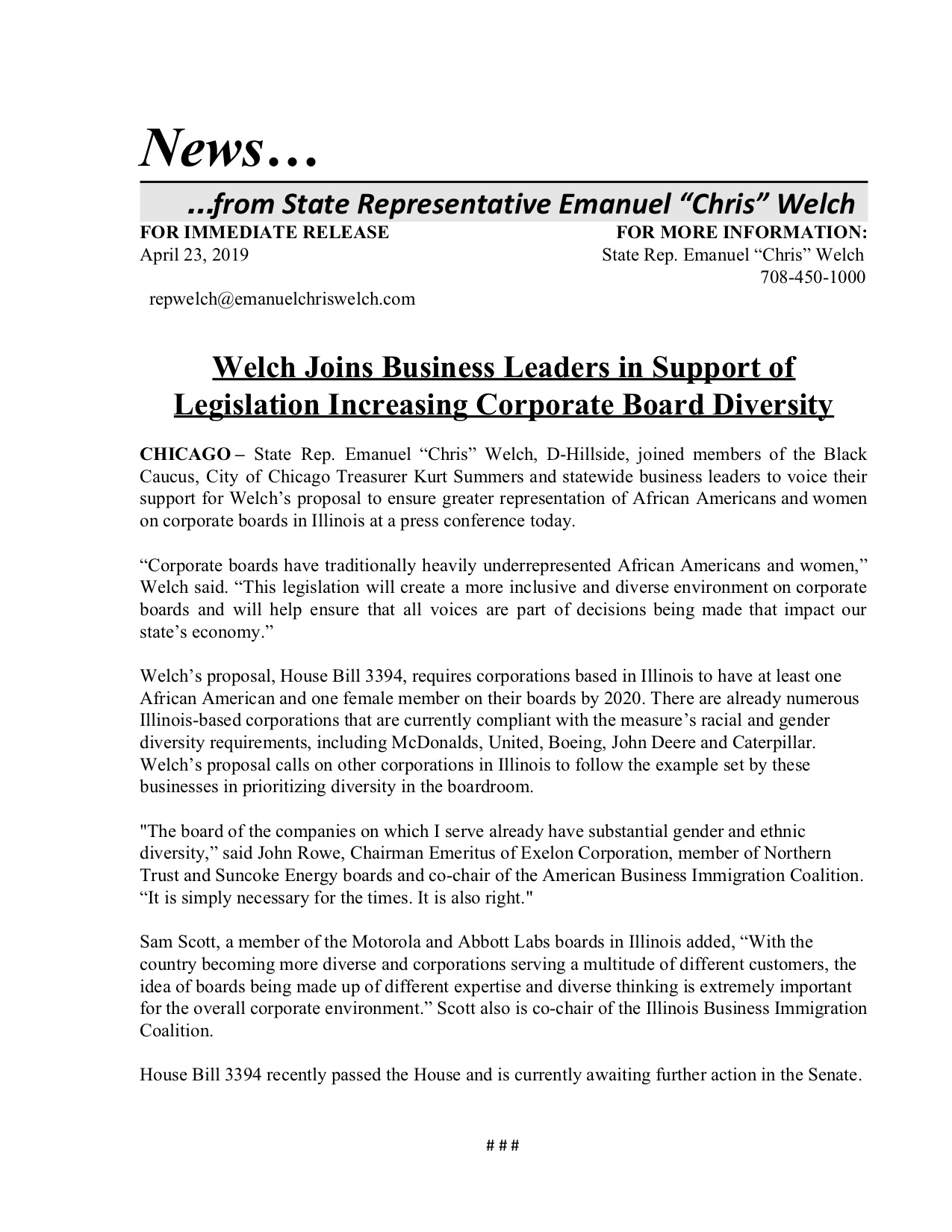 Welch Joins Business Leaders in Support of Legislation Increasing Corporate Board Diversity  (April 23, 2019)