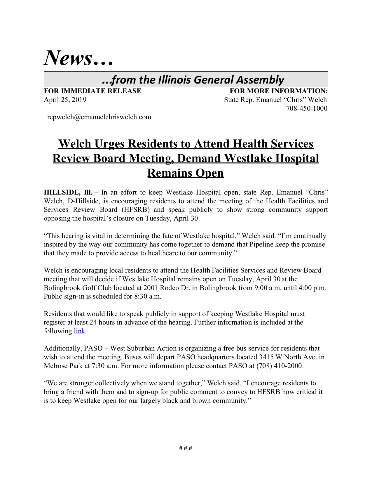 Welch Urges Residents to Attend Health Services Review Board Meeting, Demand Westlake Hospital Remains Open  (April 25, 2019)
