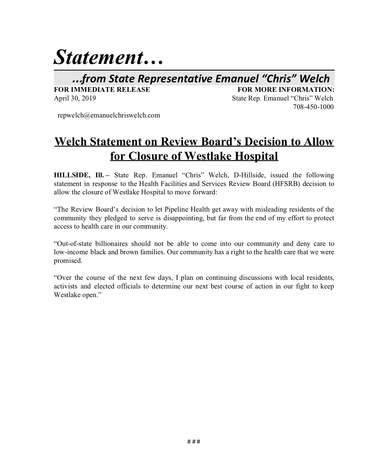 Welch Statement on Review Board's Decision to Allow for Closure of Westlake Hospital  (April 30, 2019)