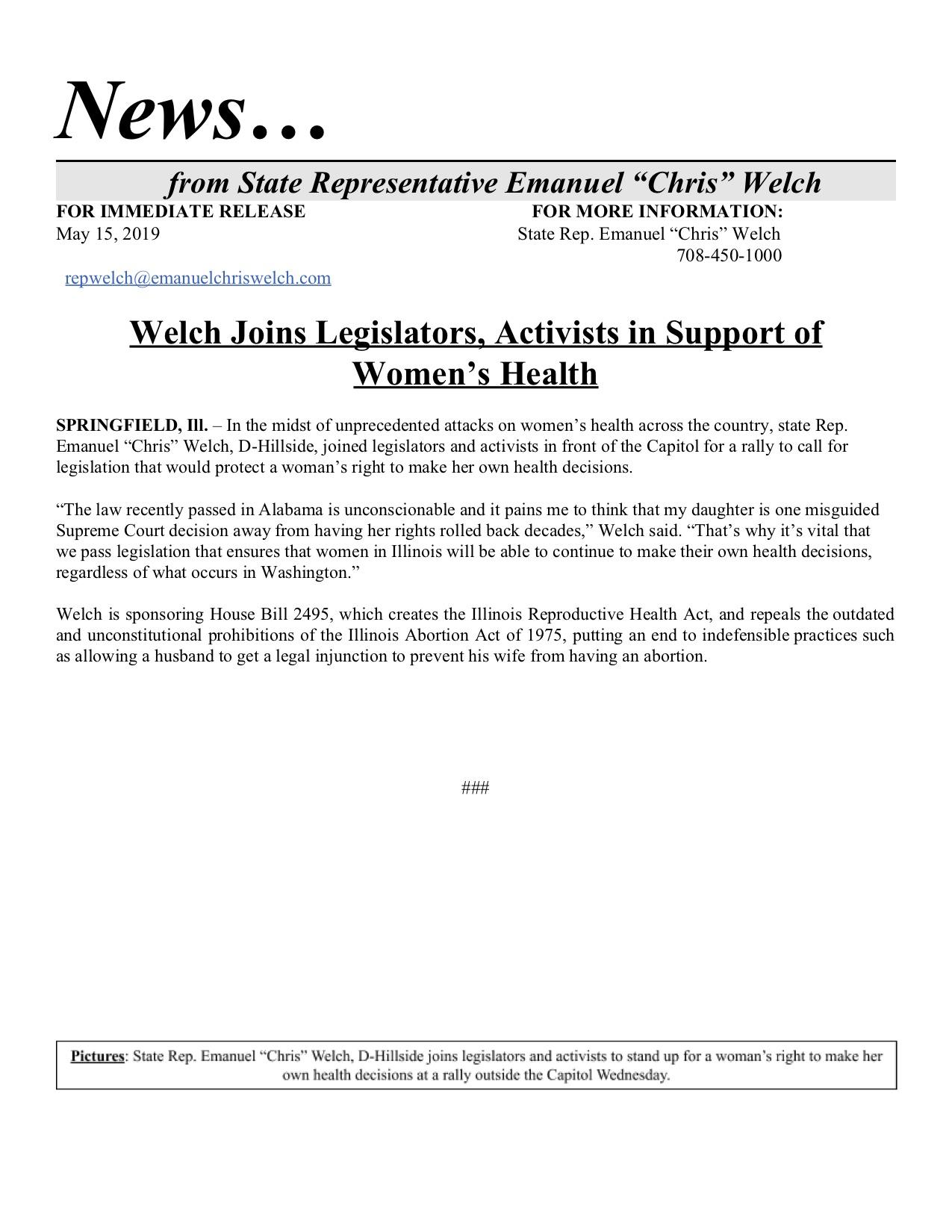 Welch Joins Legislators, Activists in Support of Women's Health  (May 15, 2019)