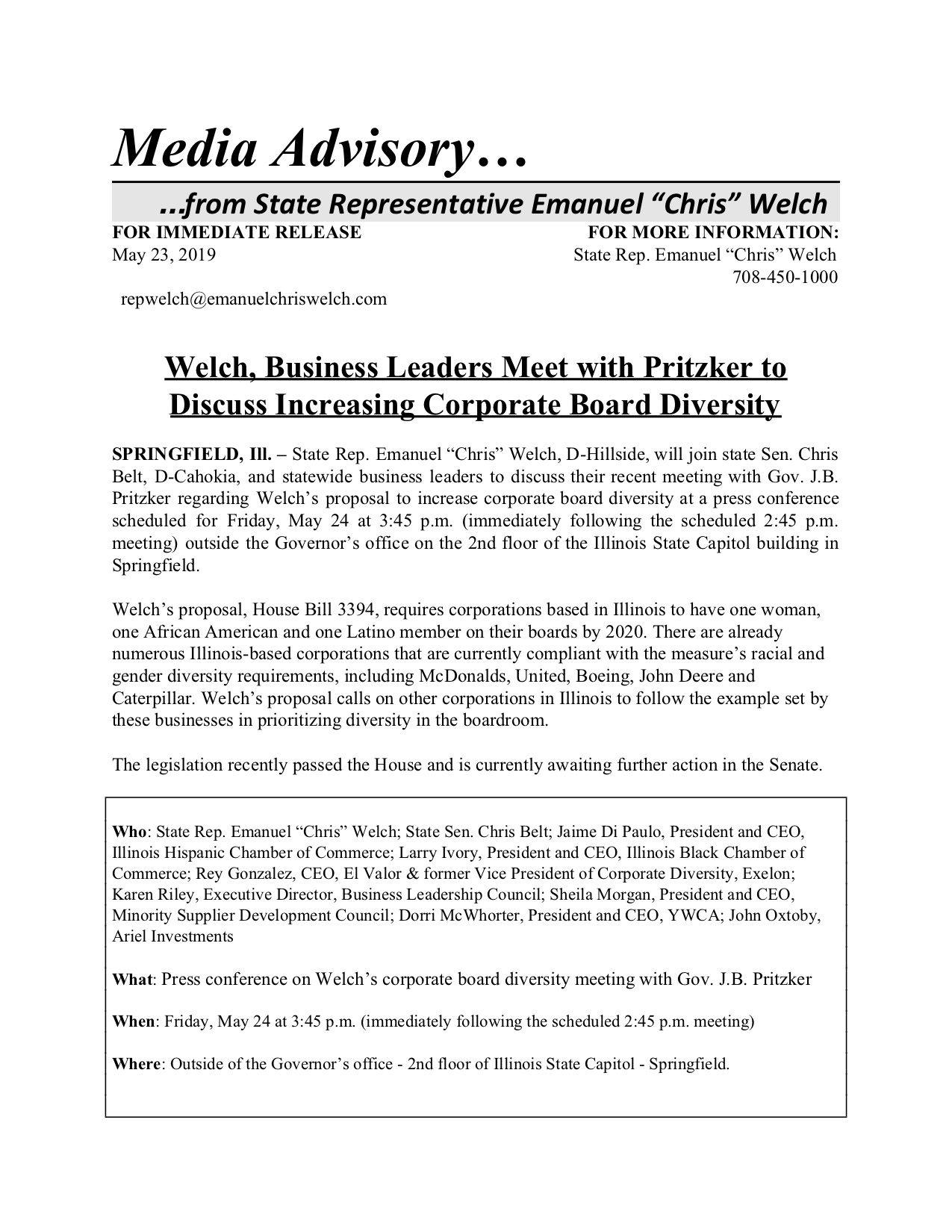 Welch, Business Leaders Meet with Pritzker to Discuss Increasing Corporate Board Diversity  (May 23, 2019)