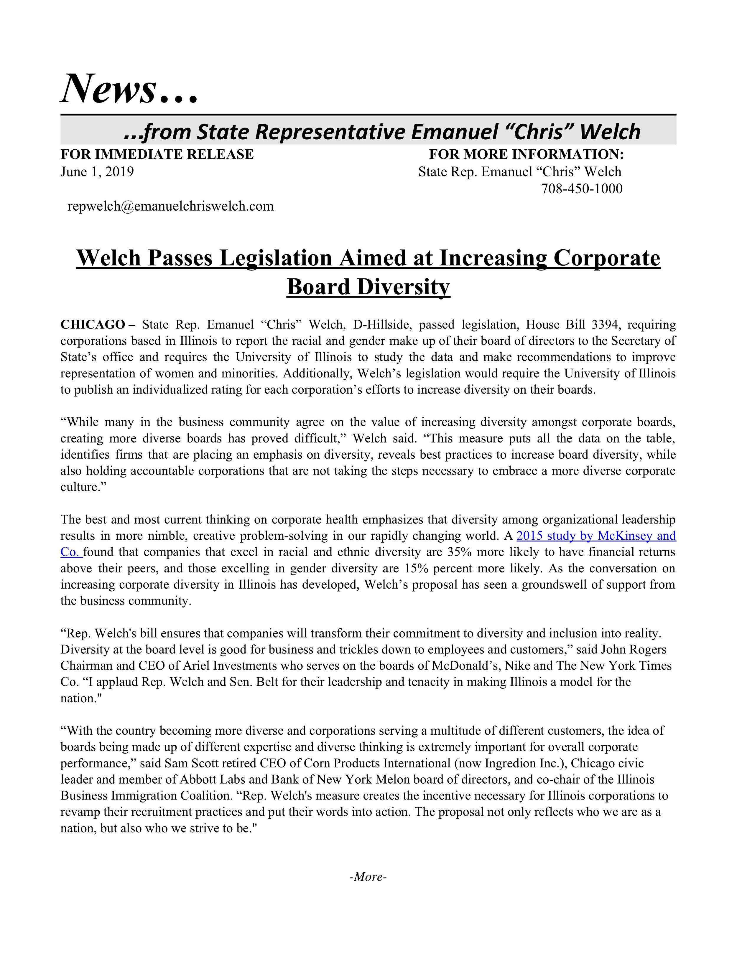 Welch Passes Legislation Aimed at Increasing Corporate Board Diversity