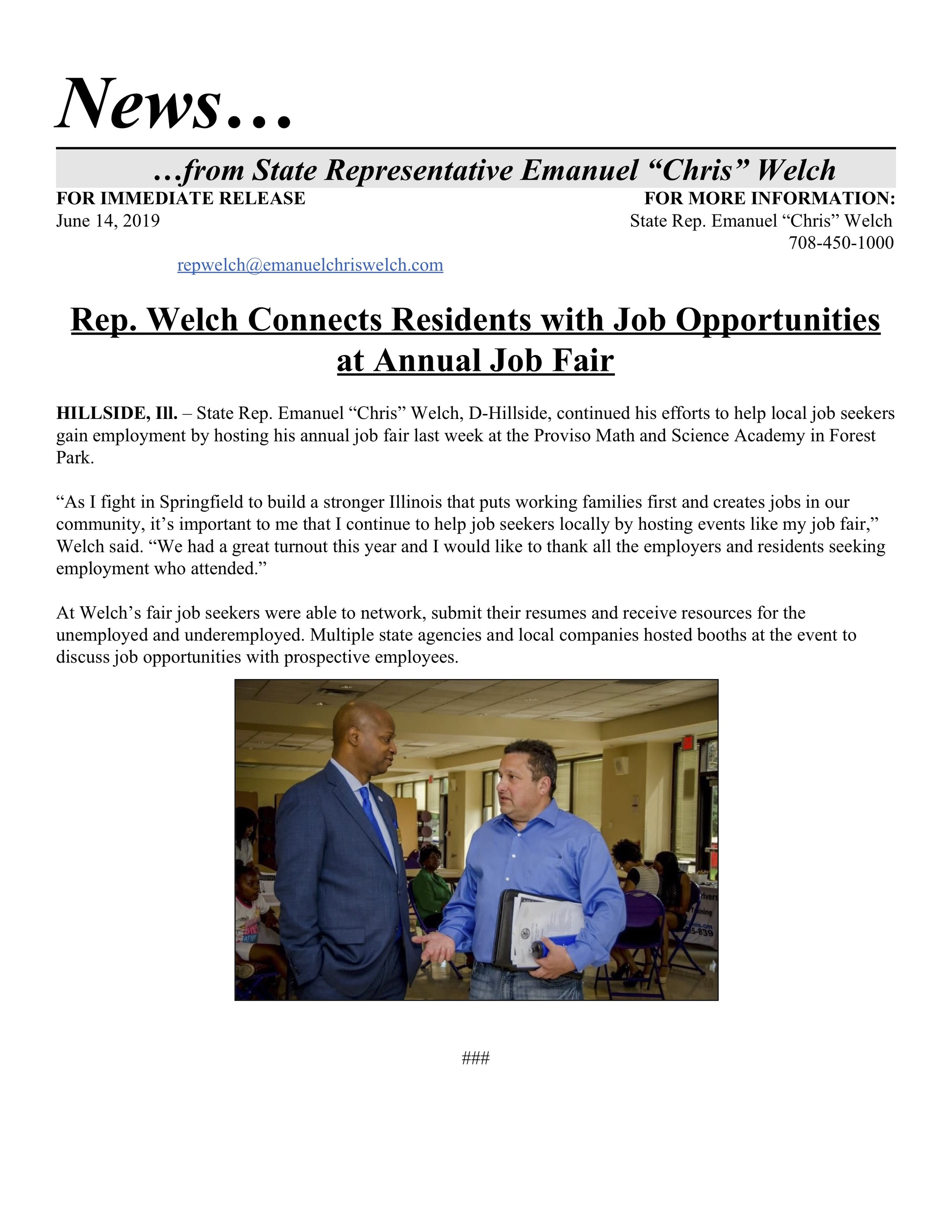 Rep. Welch Connects Residents with Job Opportunities at Annual Job Fair  (June 14, 2019)