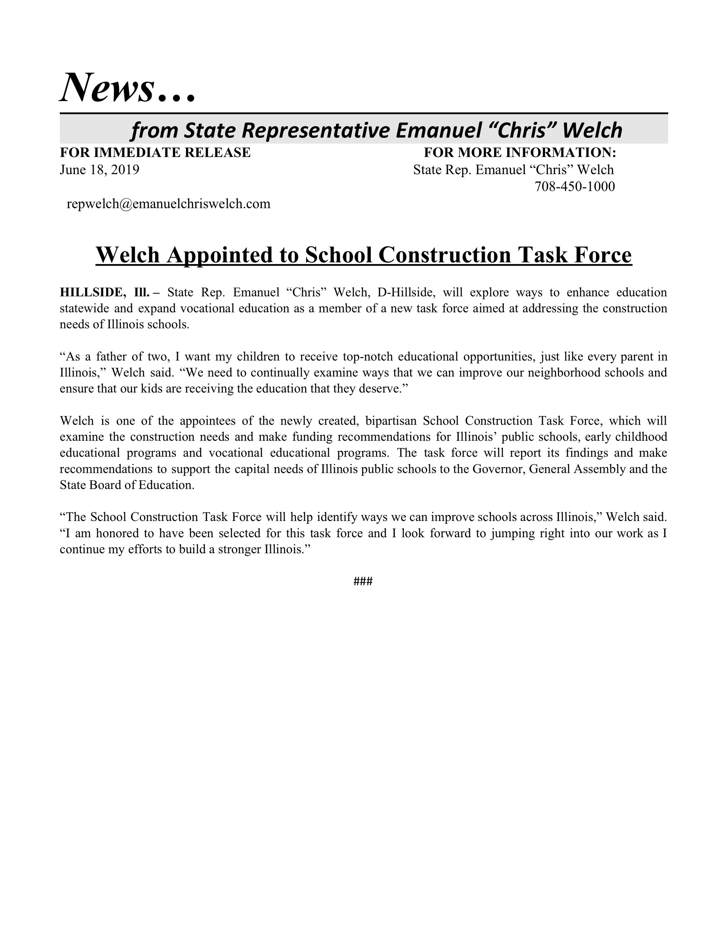 Welch Appointed to School Construction Task Force  (June 18, 2019)