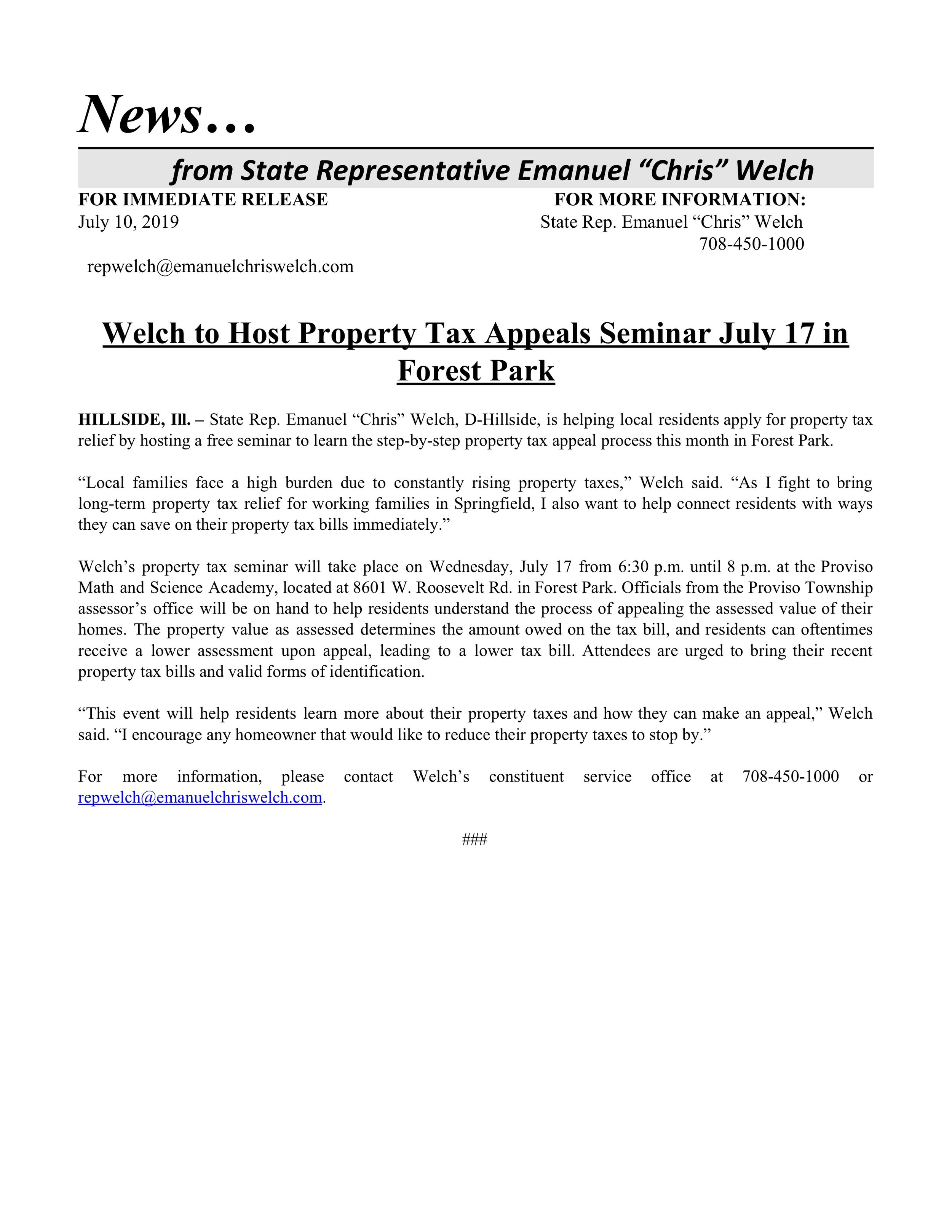 Welch to Host Property Tax Appeals Seminar July 17 in Forest Park  (July 10, 2019)