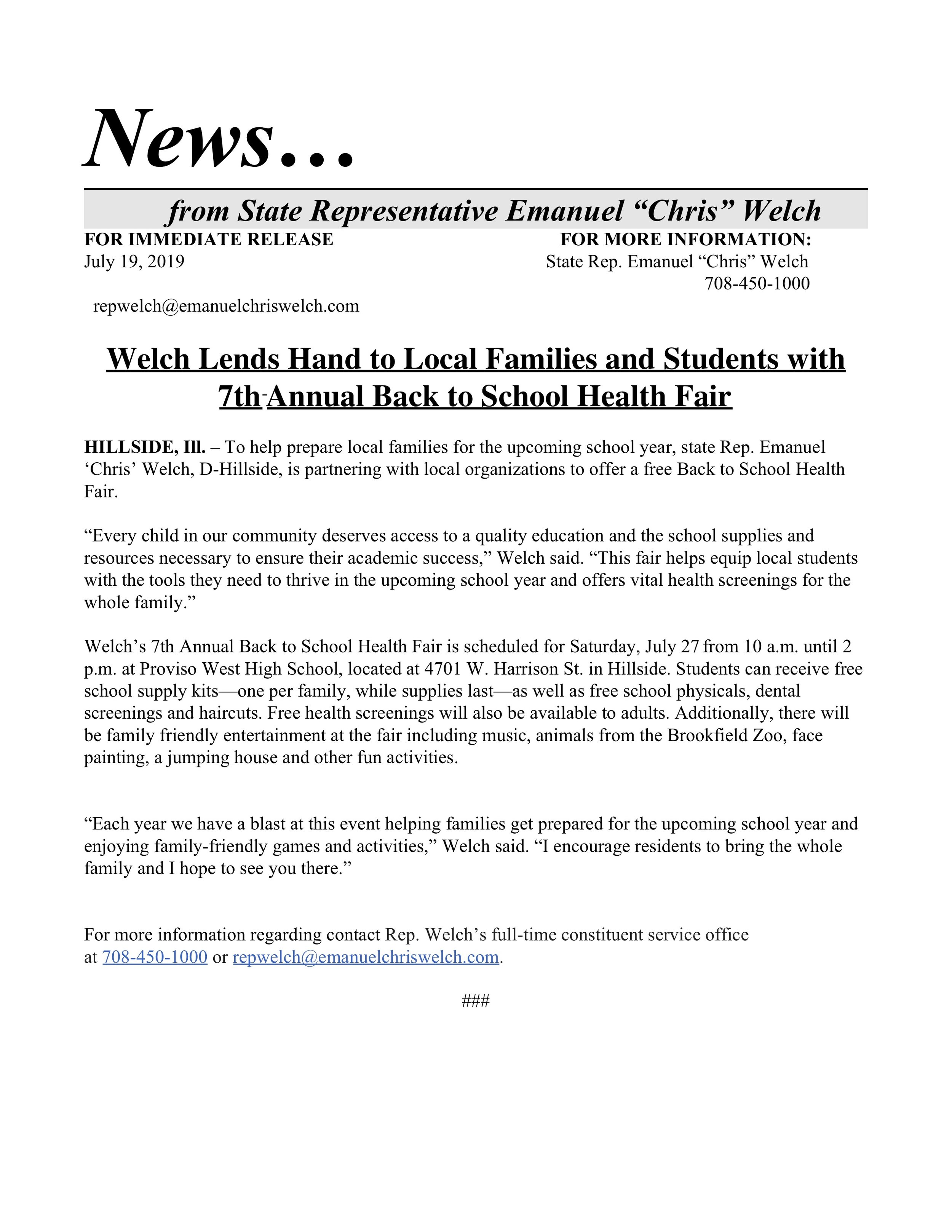 Welch Lends Hand to Local Families and Students with 7th Annual Back to School Health Fair  (July 19, 2019)