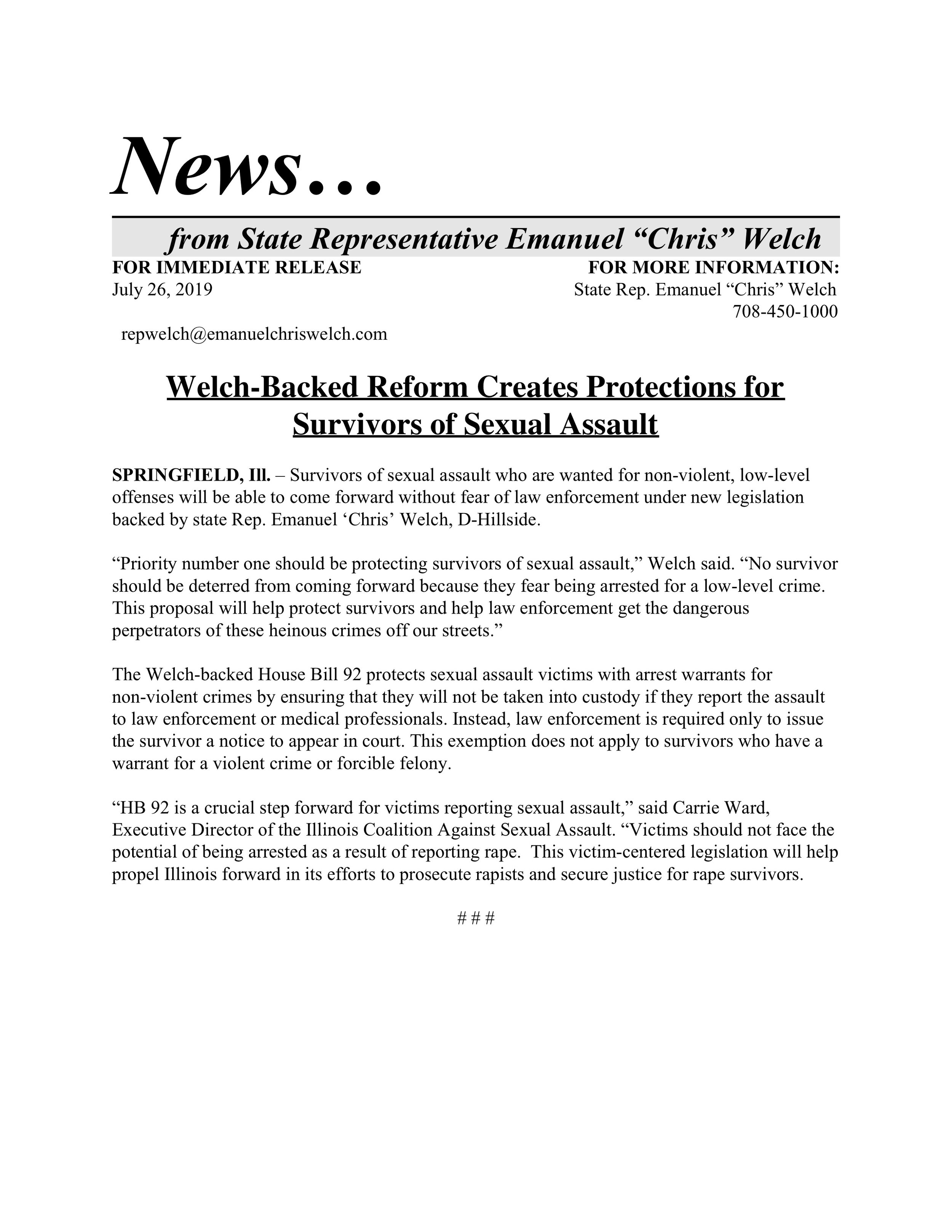 Welch-Backed Reform Creates Protections for Survivors of Sexual Assault  (July 26, 2019)