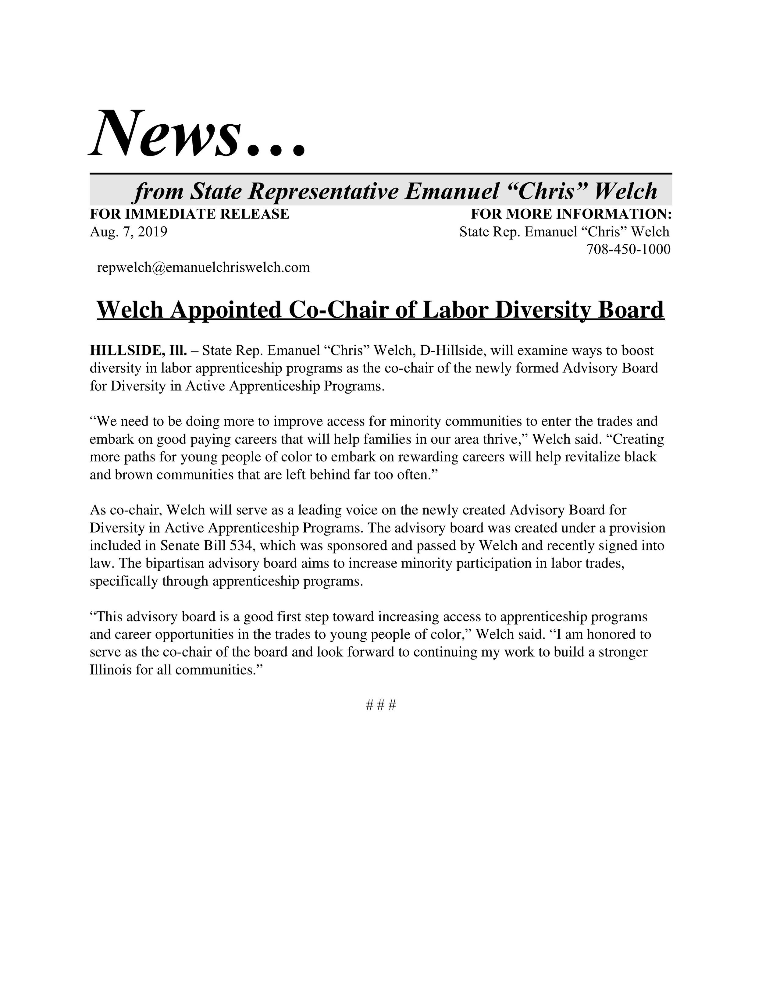 Welch Appointed Co-Chair of Labor Diversity Board  (August 7, 2019)